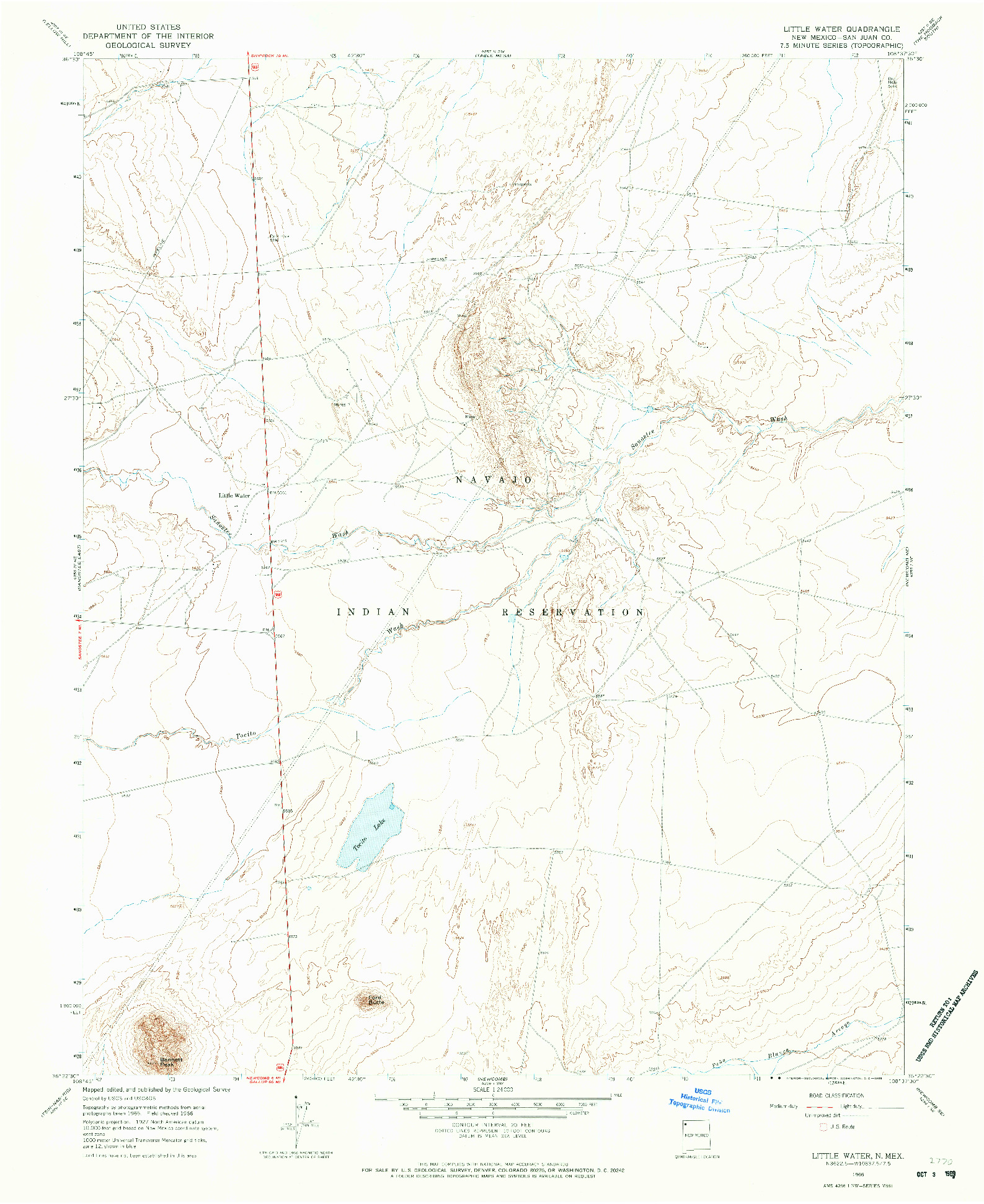 USGS 1:24000-SCALE QUADRANGLE FOR LITTLE WATER, NM 1966