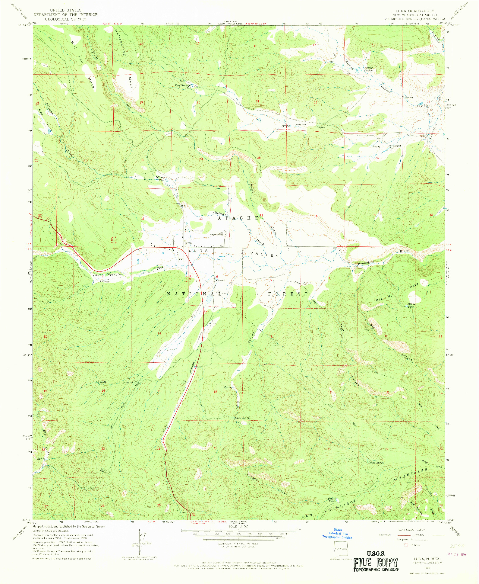 USGS 1:24000-SCALE QUADRANGLE FOR LUNA, NM 1965