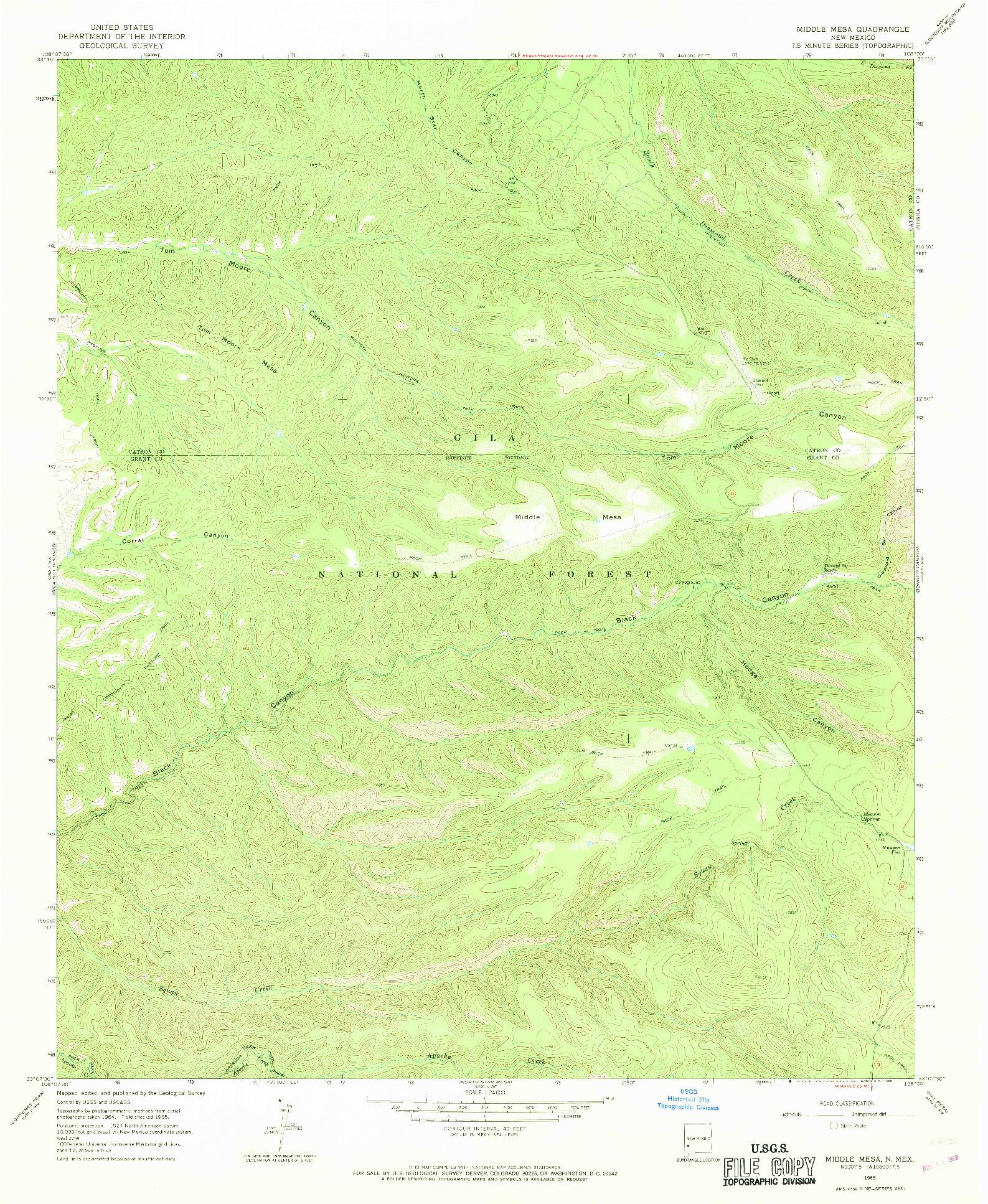 USGS 1:24000-SCALE QUADRANGLE FOR MIDDLE MESA, NM 1965