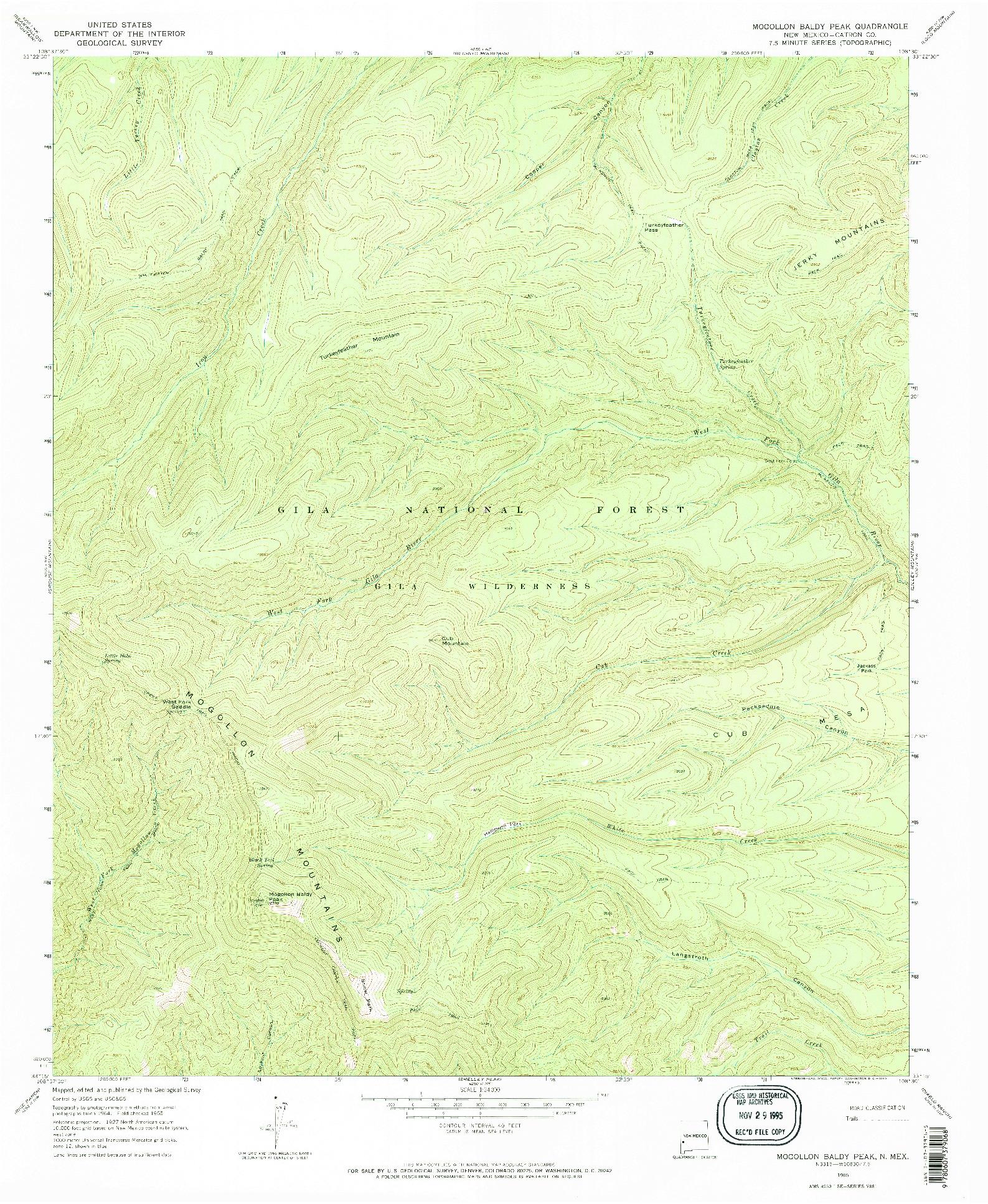 USGS 1:24000-SCALE QUADRANGLE FOR MOGOLLON BALDY PEAK, NM 1965