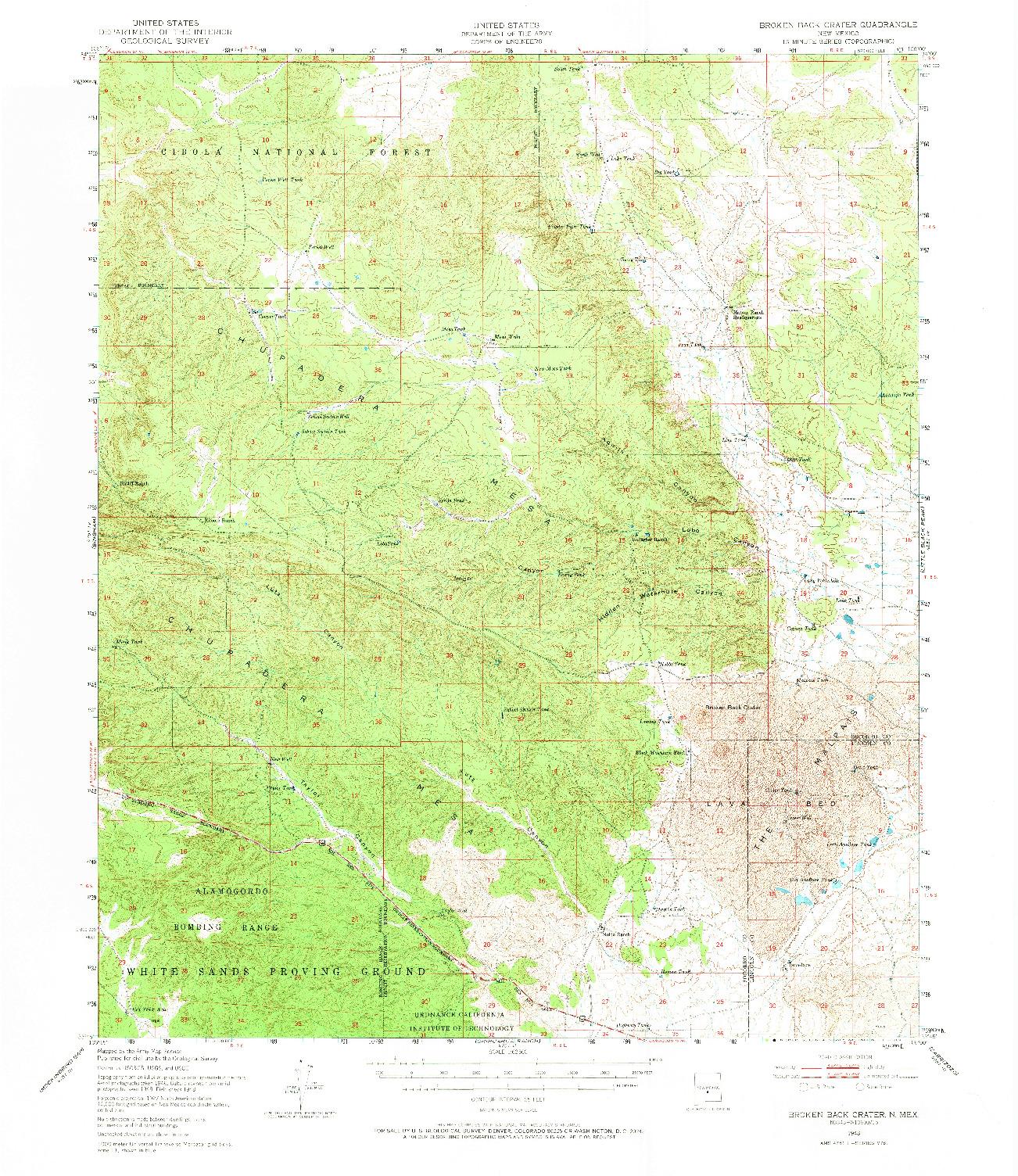 USGS 1:62500-SCALE QUADRANGLE FOR BROKEN BACK CRATER, NM 1948