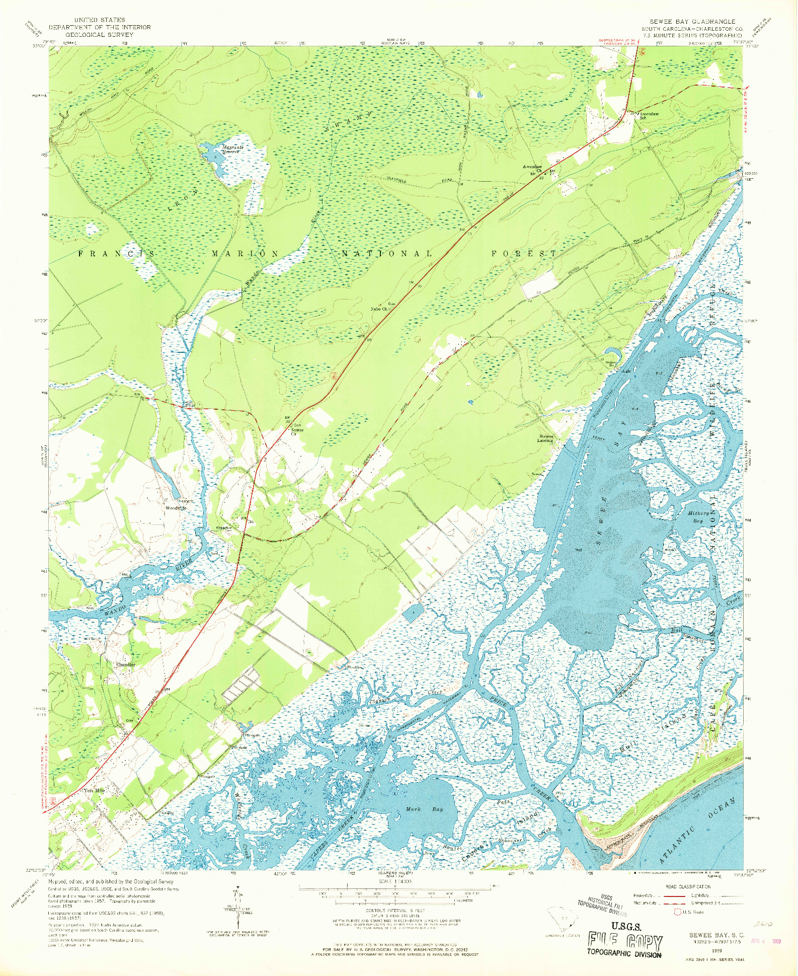 USGS 1:24000-SCALE QUADRANGLE FOR SEWEE BAY, SC 1959