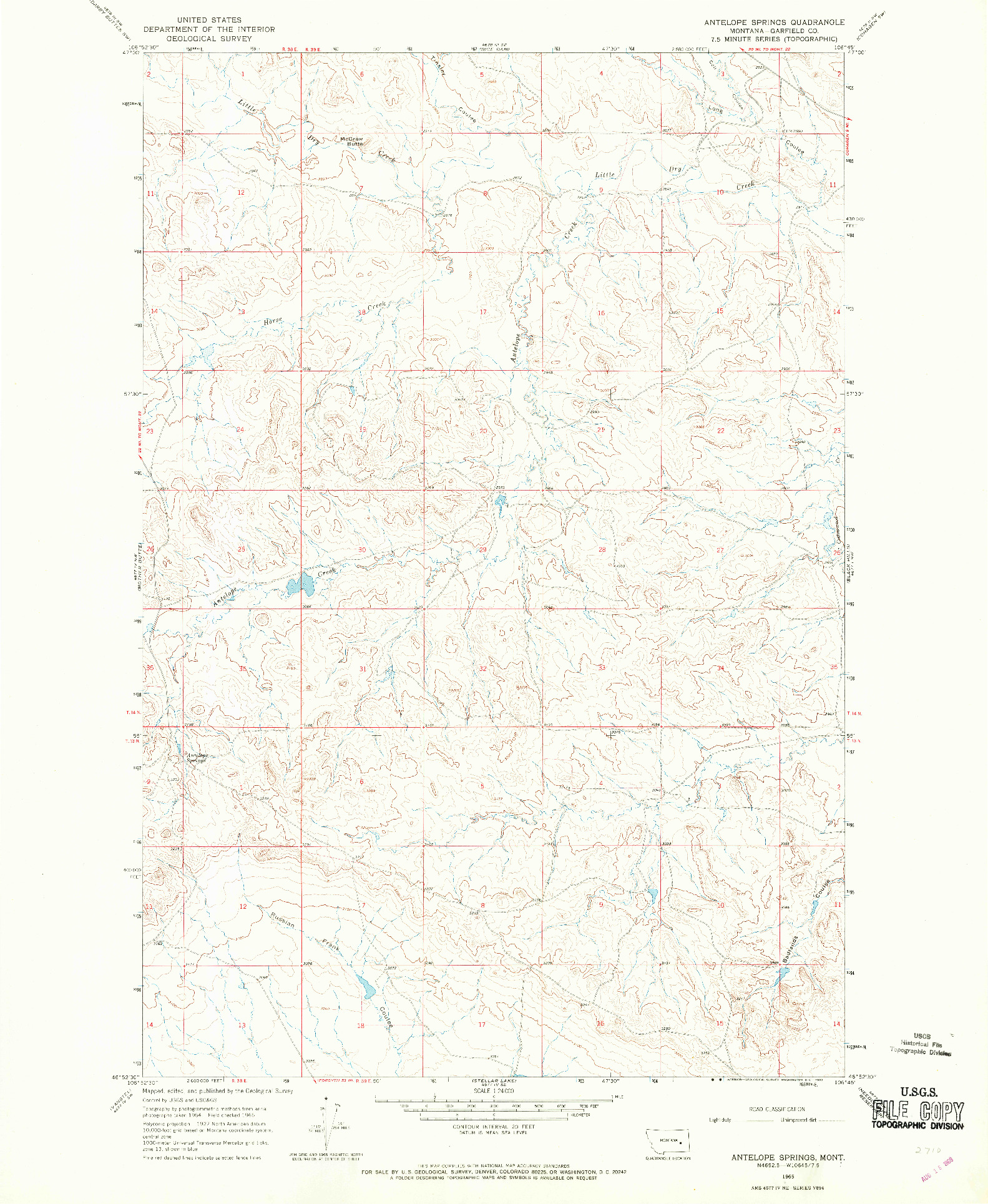 USGS 1:24000-SCALE QUADRANGLE FOR ANTELOPE SPRINGS, MT 1965