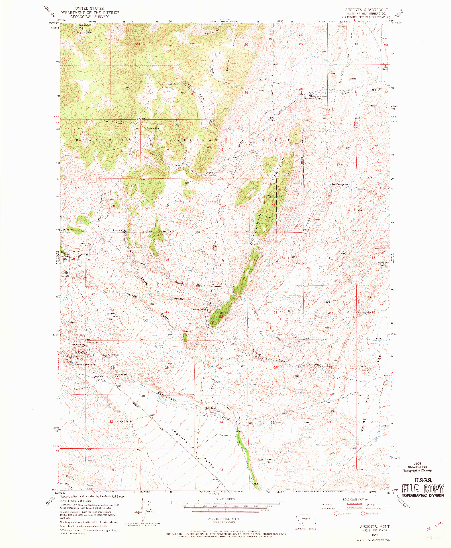 USGS 1:24000-SCALE QUADRANGLE FOR ARGENTA, MT 1952