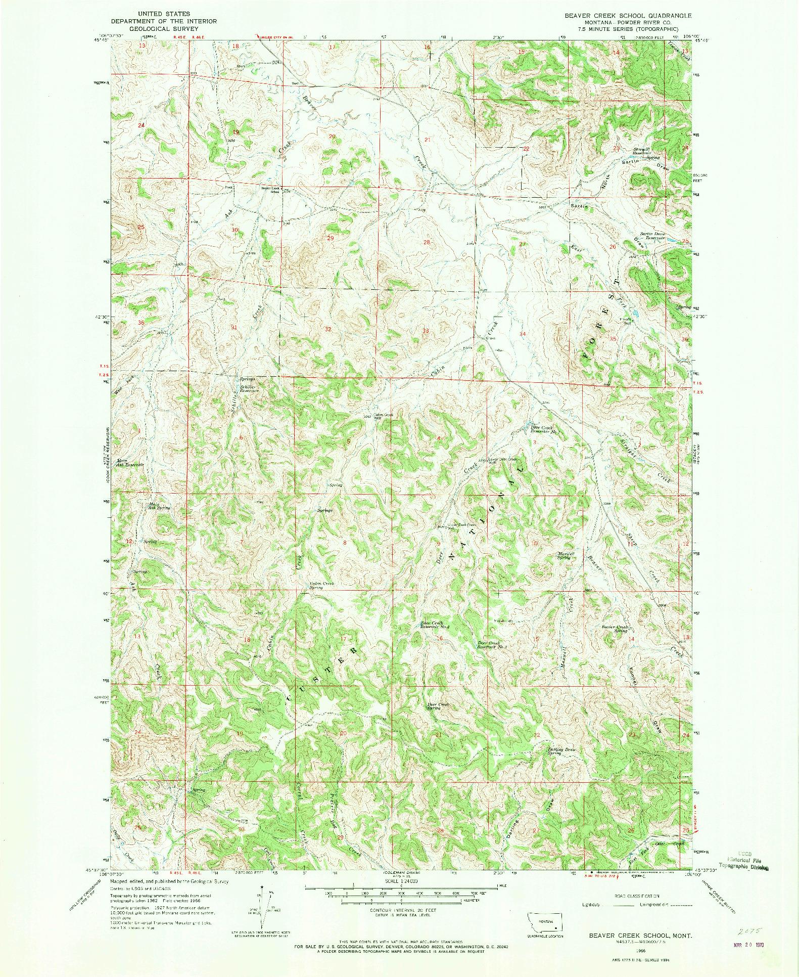 USGS 1:24000-SCALE QUADRANGLE FOR BEAVER CREEK SCHOOL, MT 1966