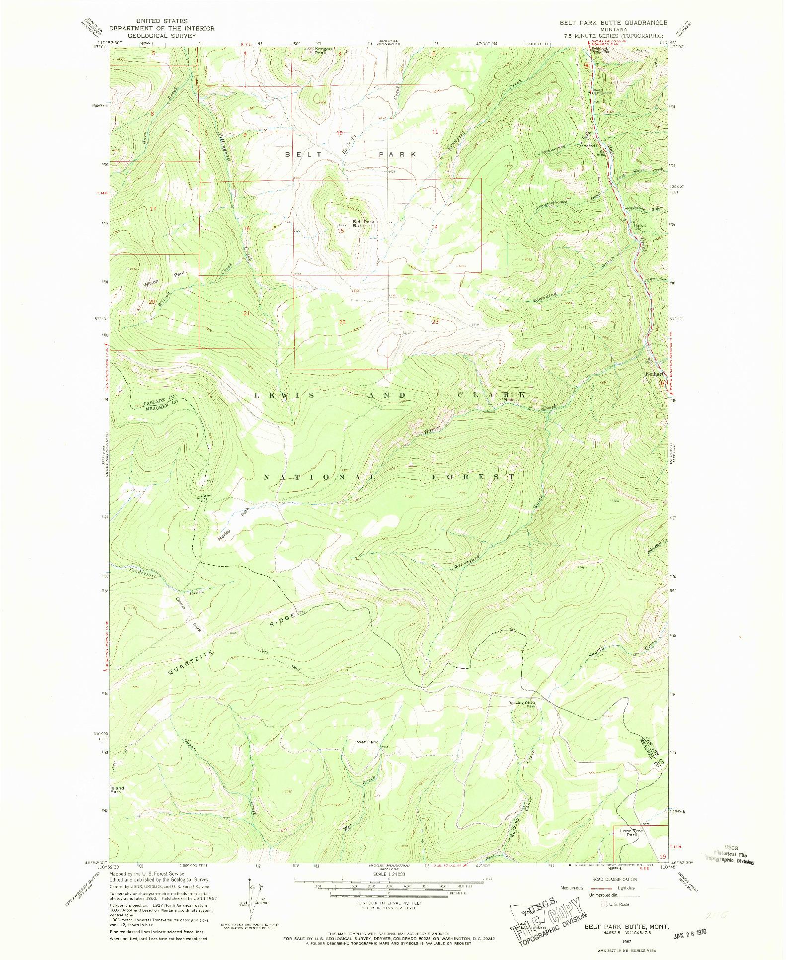 USGS 1:24000-SCALE QUADRANGLE FOR BELT PARK BUTTE, MT 1967