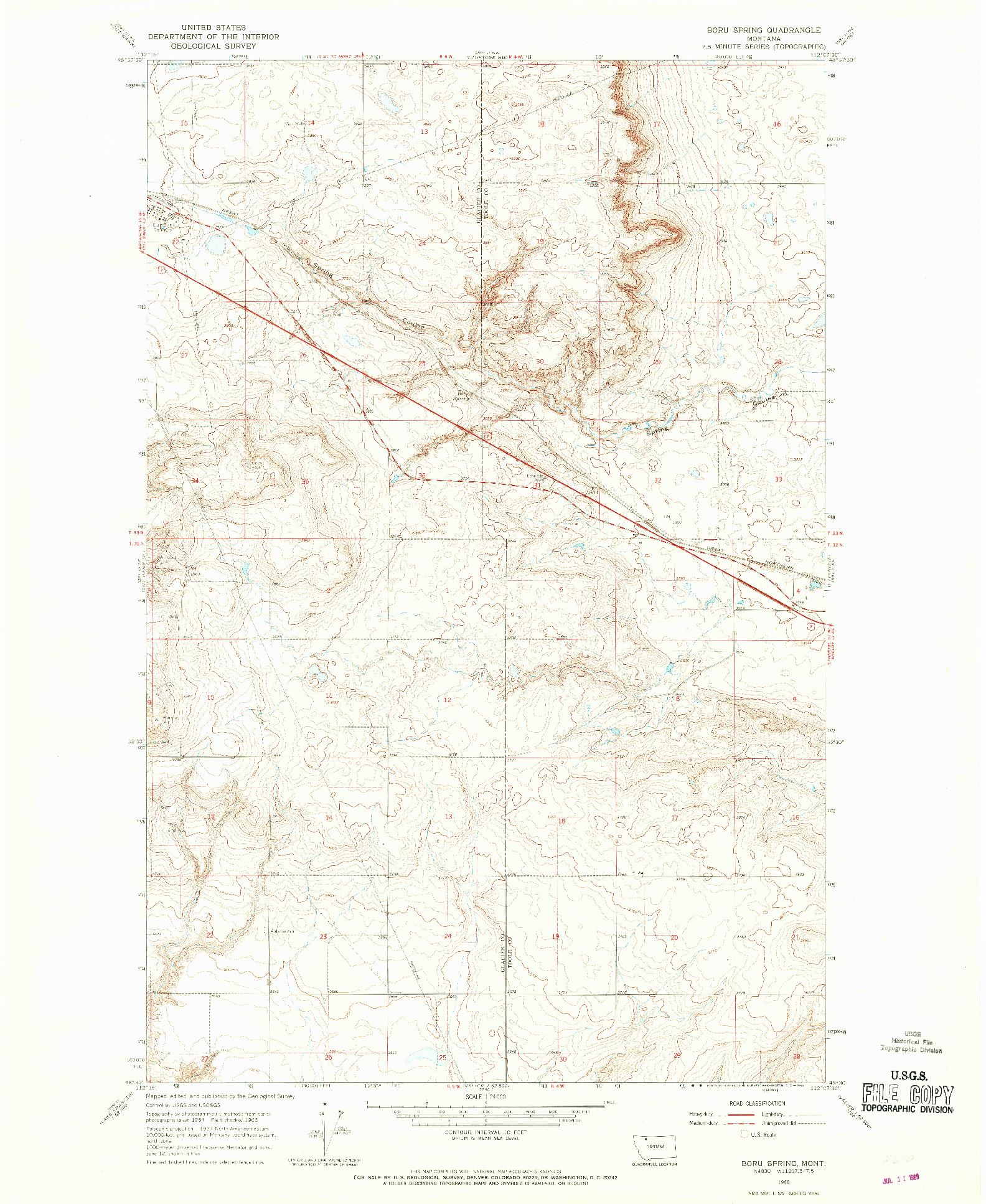 USGS 1:24000-SCALE QUADRANGLE FOR BORU SPRING, MT 1966