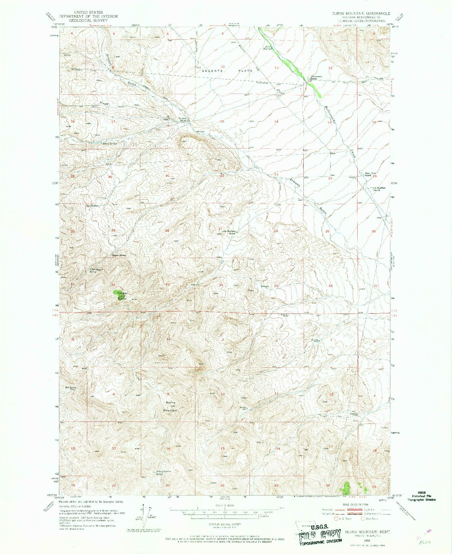 USGS 1:24000-SCALE QUADRANGLE FOR BURNS MOUNTAIN, MT 1952