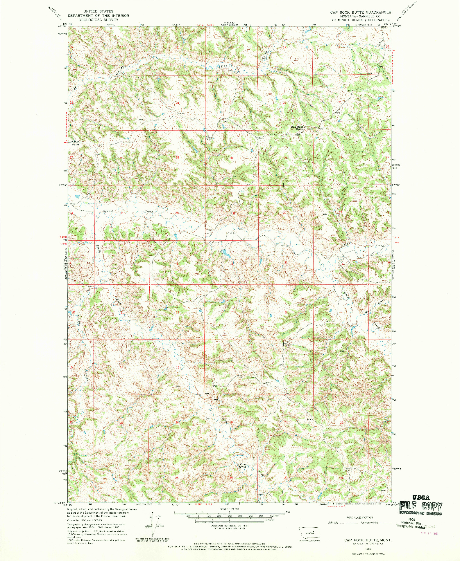 USGS 1:24000-SCALE QUADRANGLE FOR CAP ROCK BUTTE, MT 1965