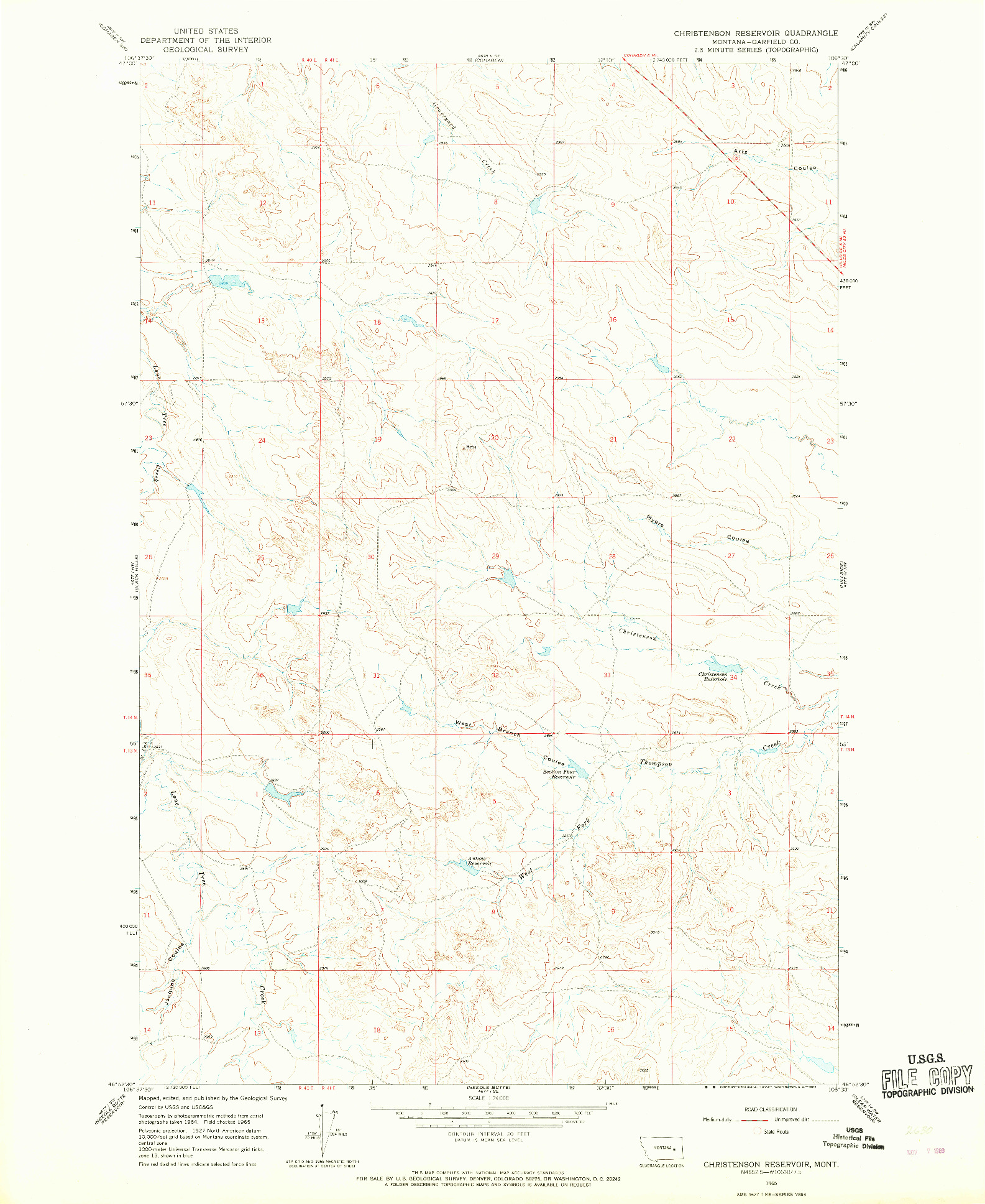 USGS 1:24000-SCALE QUADRANGLE FOR CHRISTENSEN RESERVOIR, MT 1965