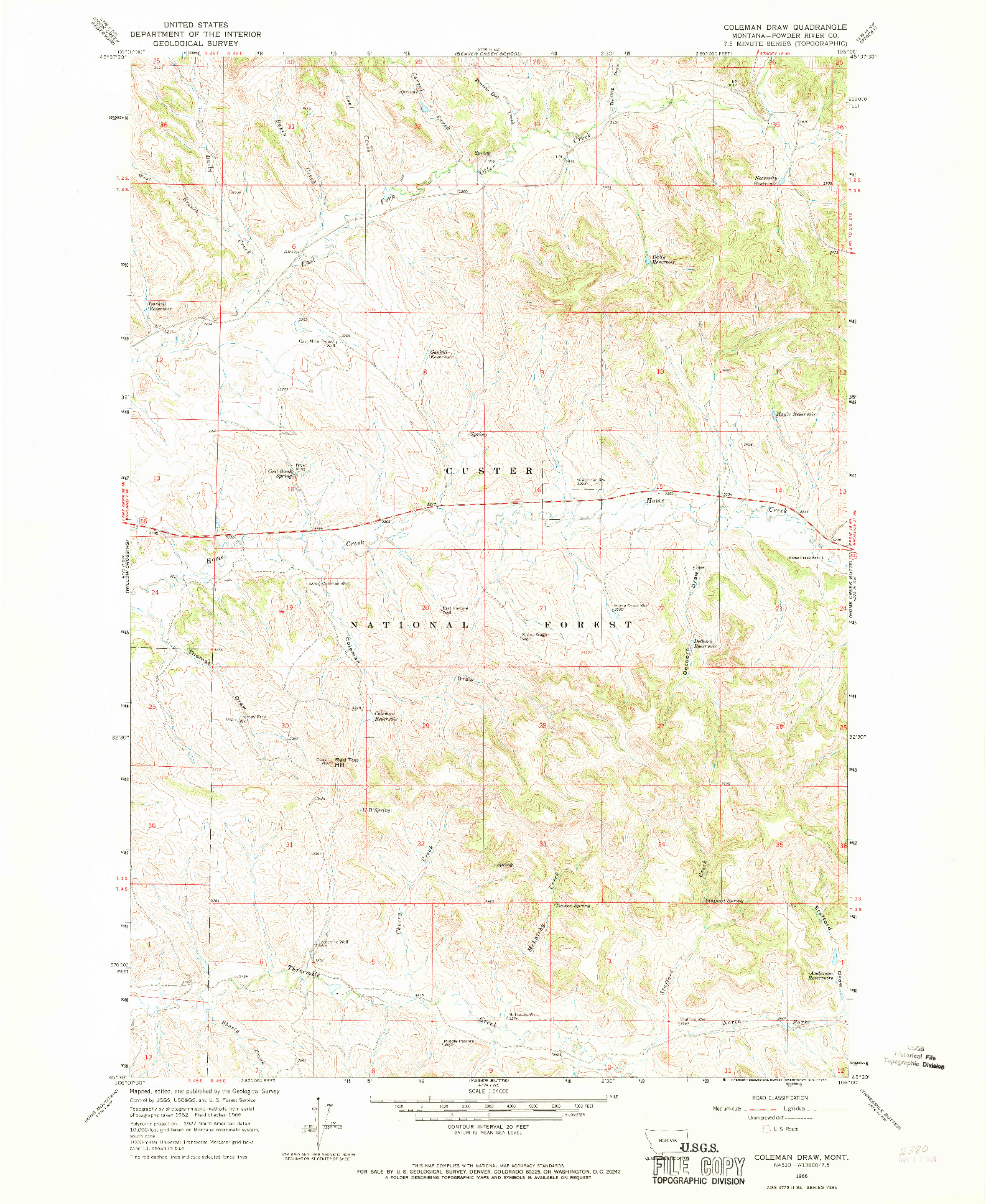 USGS 1:24000-SCALE QUADRANGLE FOR COLEMAN DRAW, MT 1966