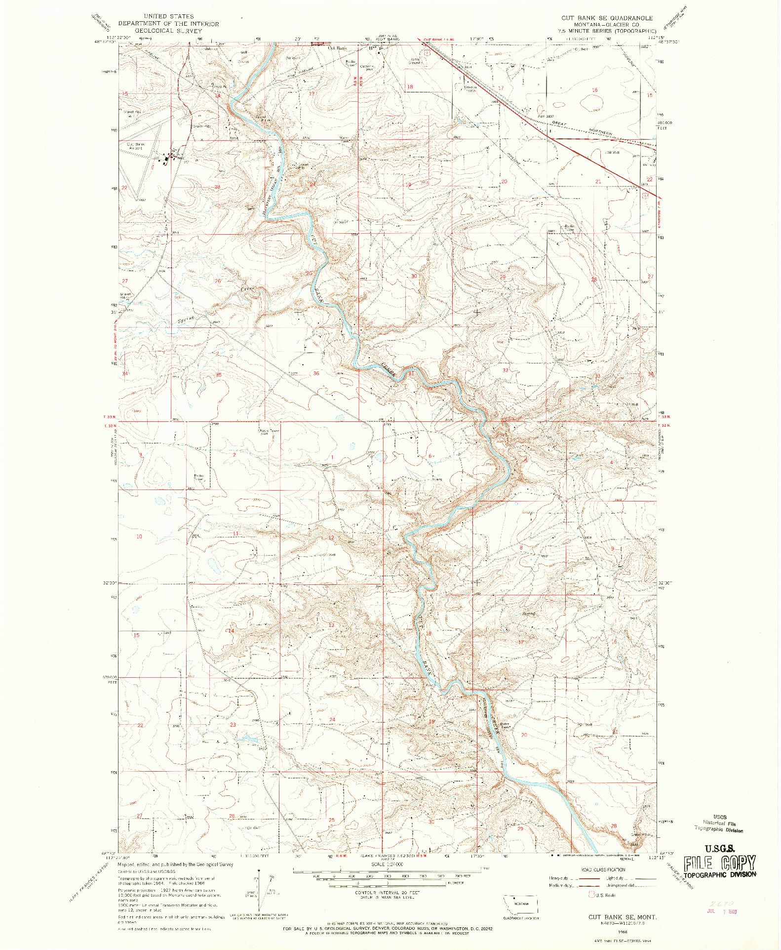 USGS 1:24000-SCALE QUADRANGLE FOR CUT BANK SE, MT 1966
