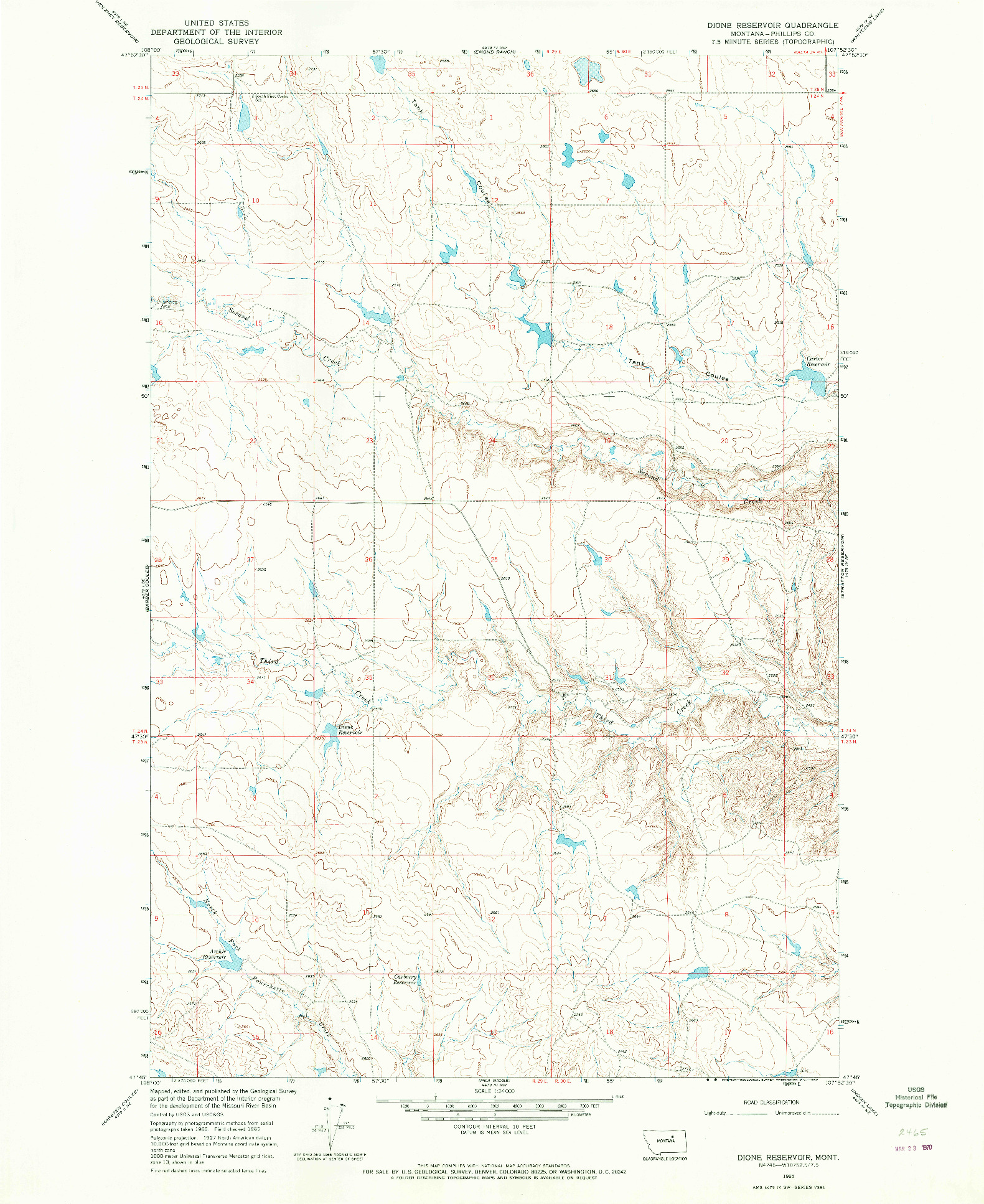 USGS 1:24000-SCALE QUADRANGLE FOR DIONE RESERVOIR, MT 1965