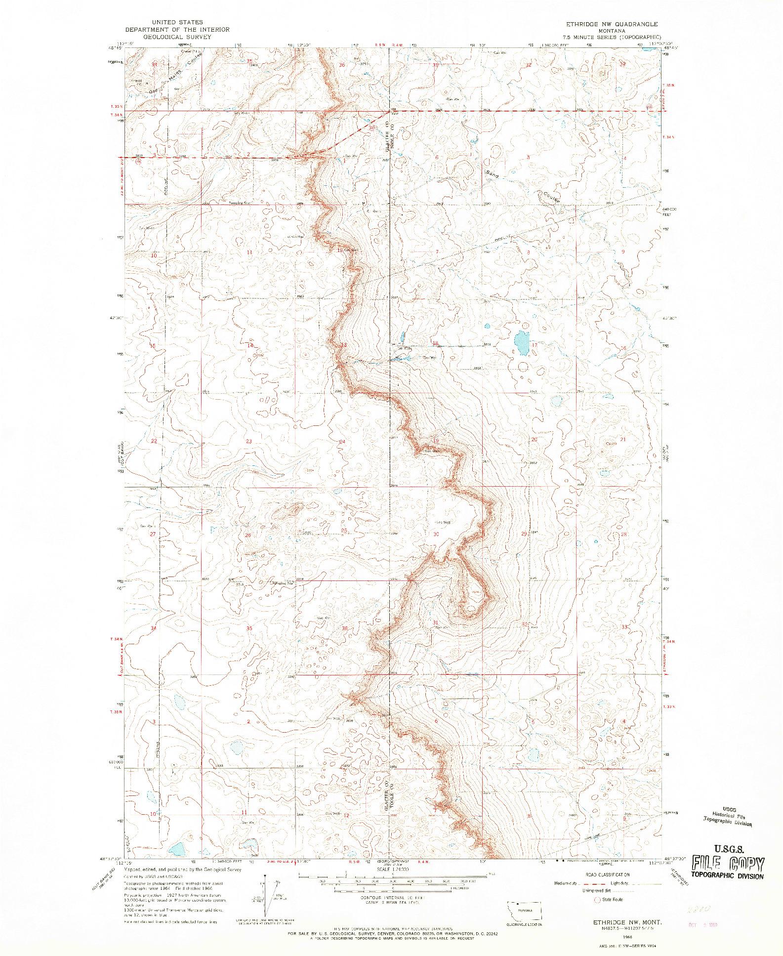 USGS 1:24000-SCALE QUADRANGLE FOR ETHRIDGE NW, MT 1966
