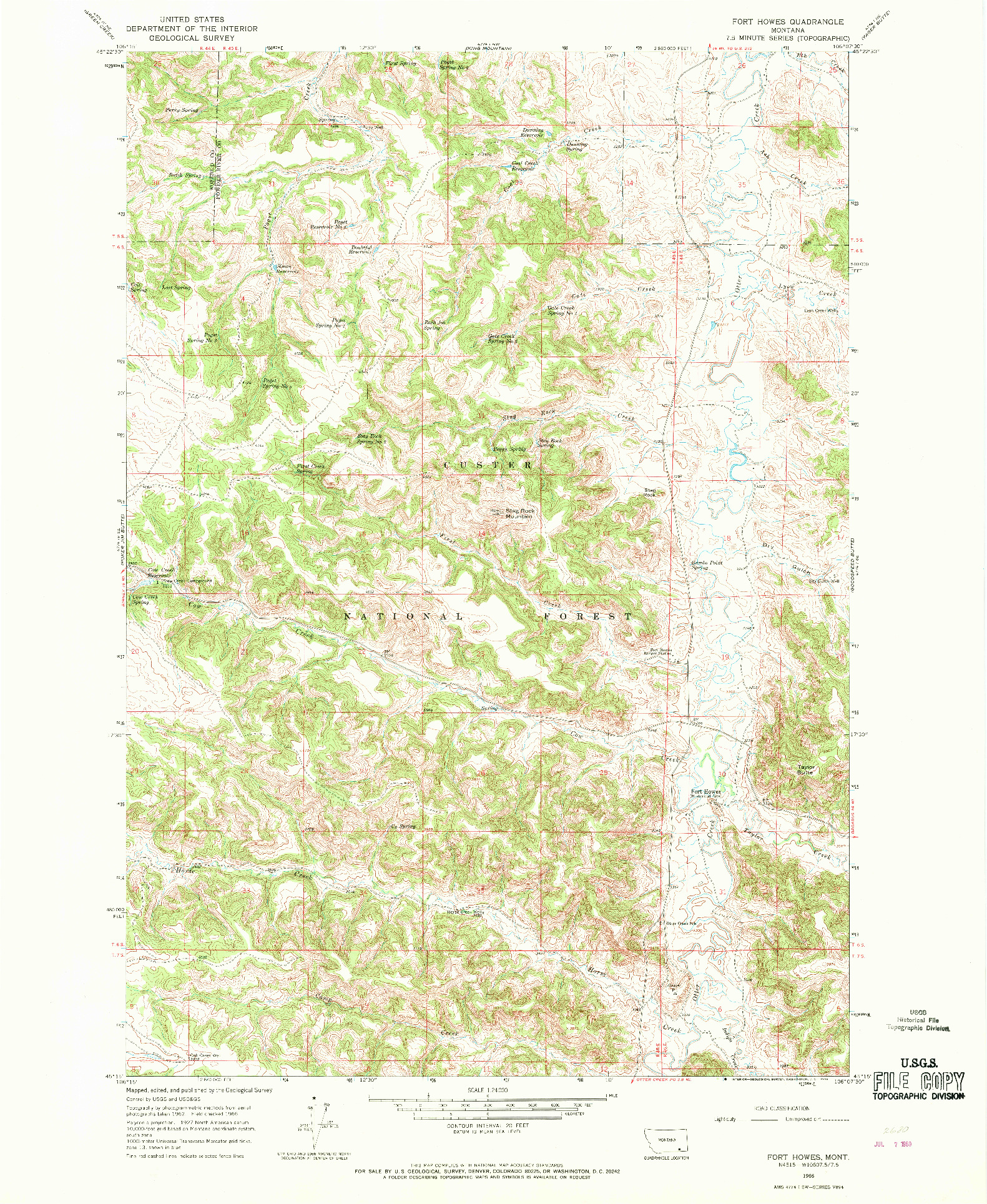 USGS 1:24000-SCALE QUADRANGLE FOR FORT HOWES, MT 1966