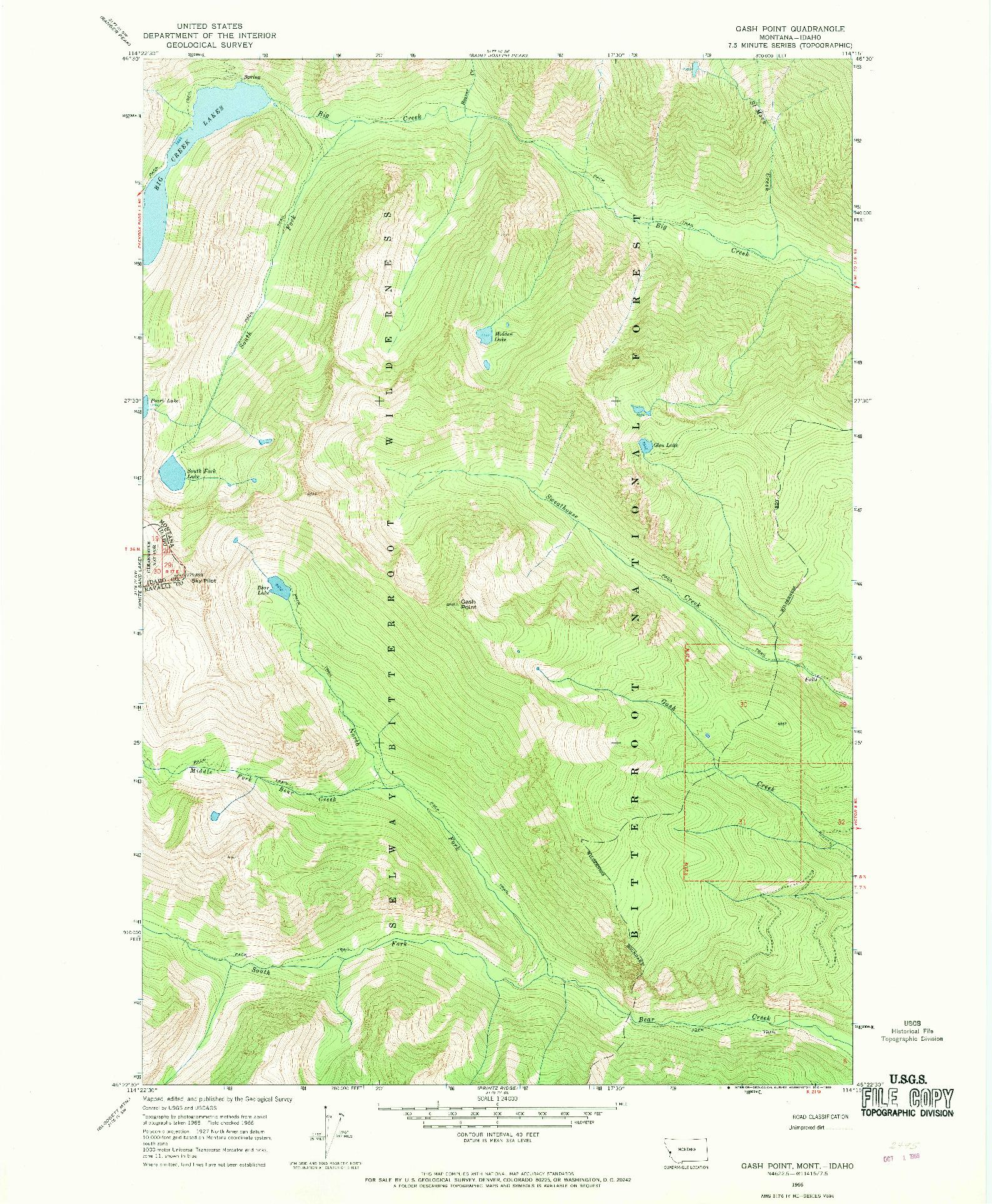 USGS 1:24000-SCALE QUADRANGLE FOR GASH POINT, MT 1966
