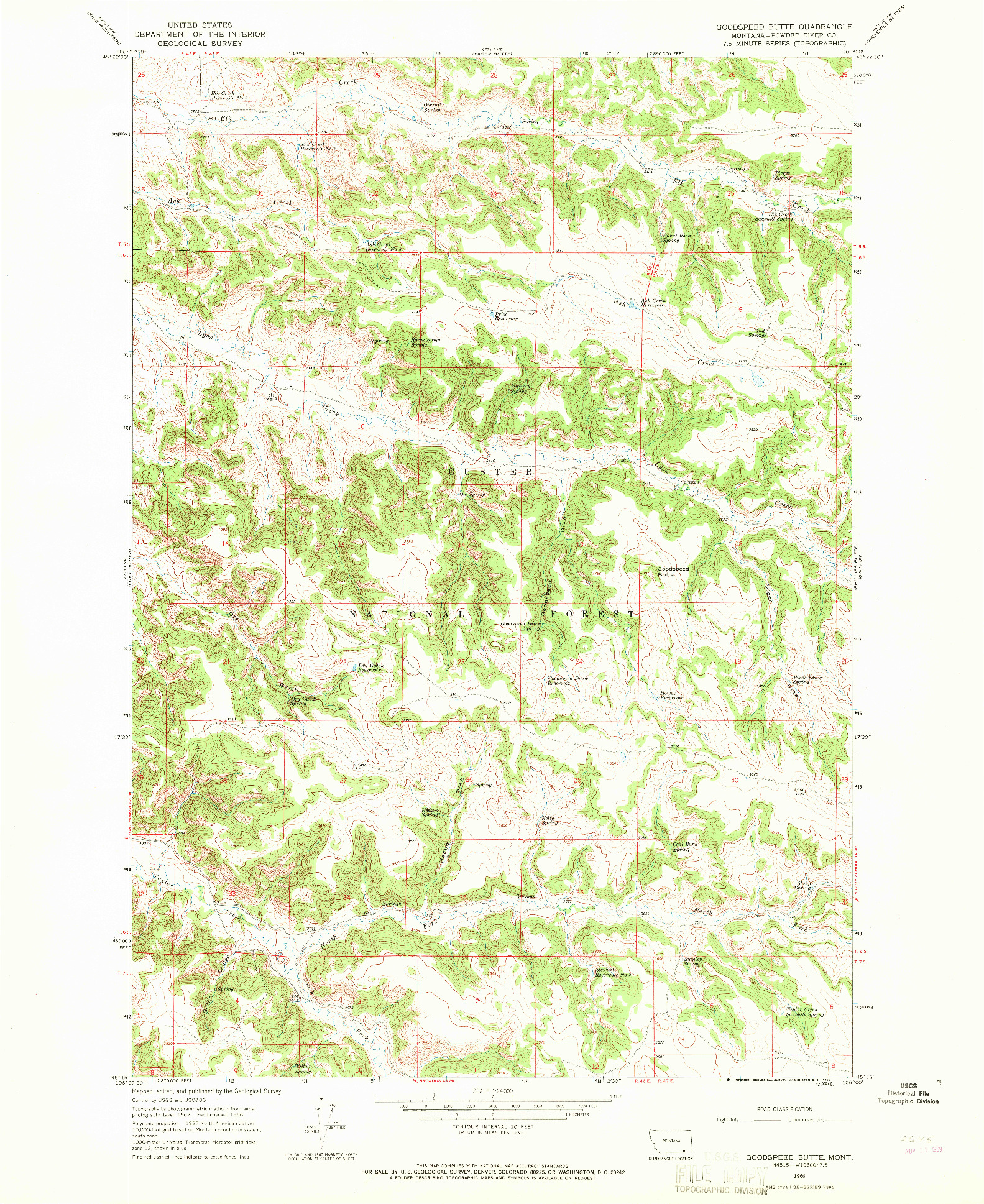 USGS 1:24000-SCALE QUADRANGLE FOR GOODSPEED BUTTE, MT 1966
