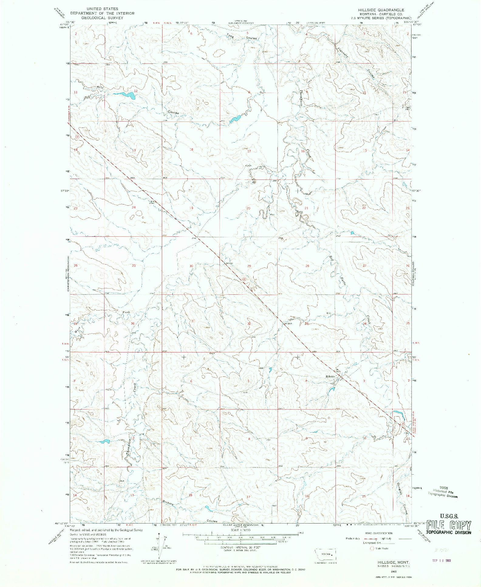 USGS 1:24000-SCALE QUADRANGLE FOR HILLSIDE, MT 1965