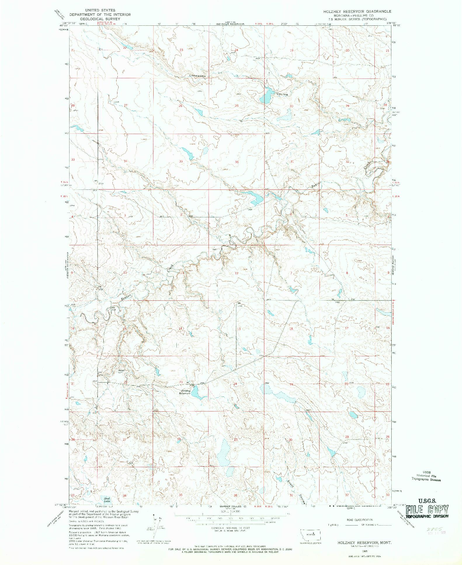 USGS 1:24000-SCALE QUADRANGLE FOR HOLZHEY RESERVOIR, MT 1965