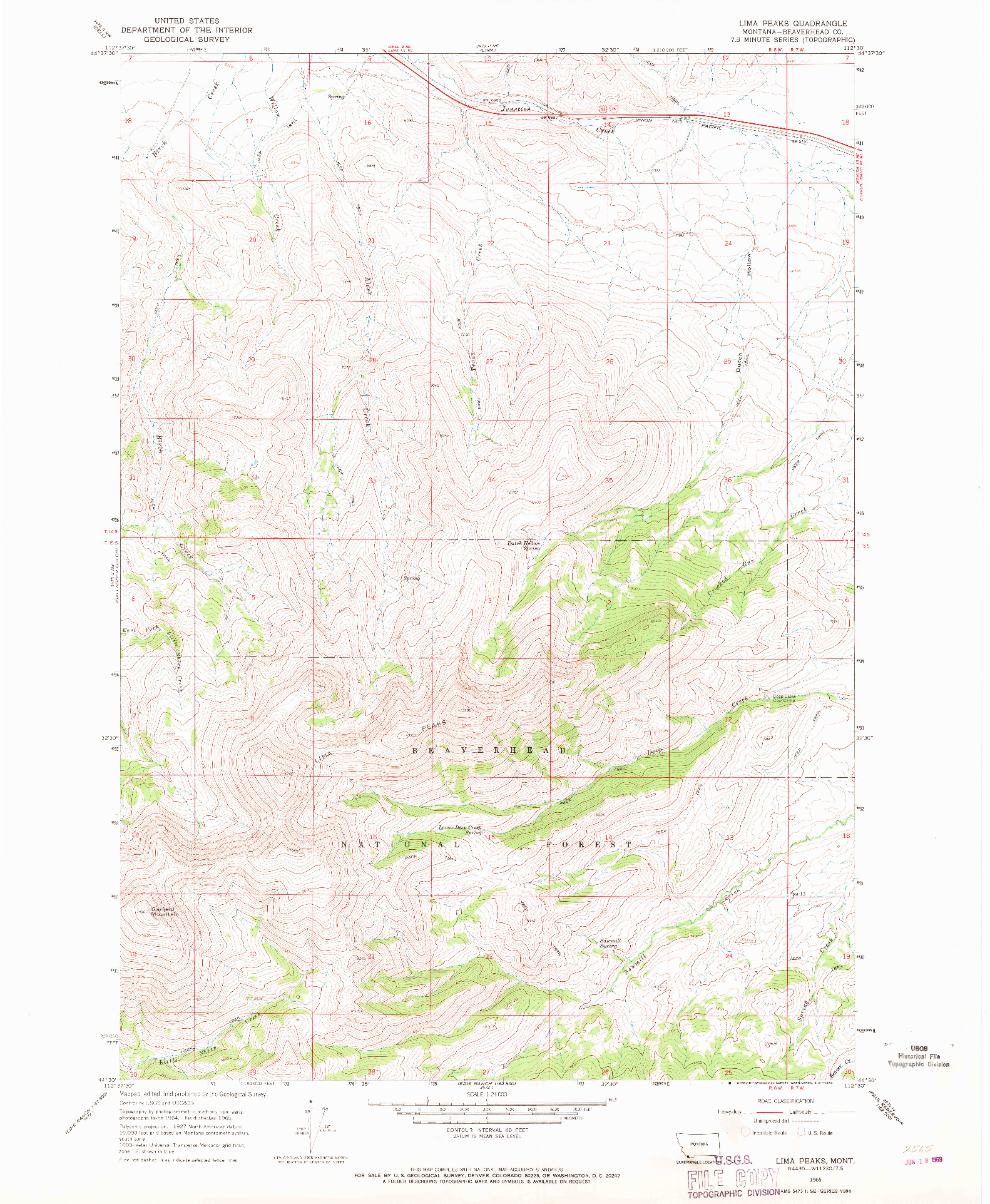 USGS 1:24000-SCALE QUADRANGLE FOR LIMA PEAKS, MT 1965