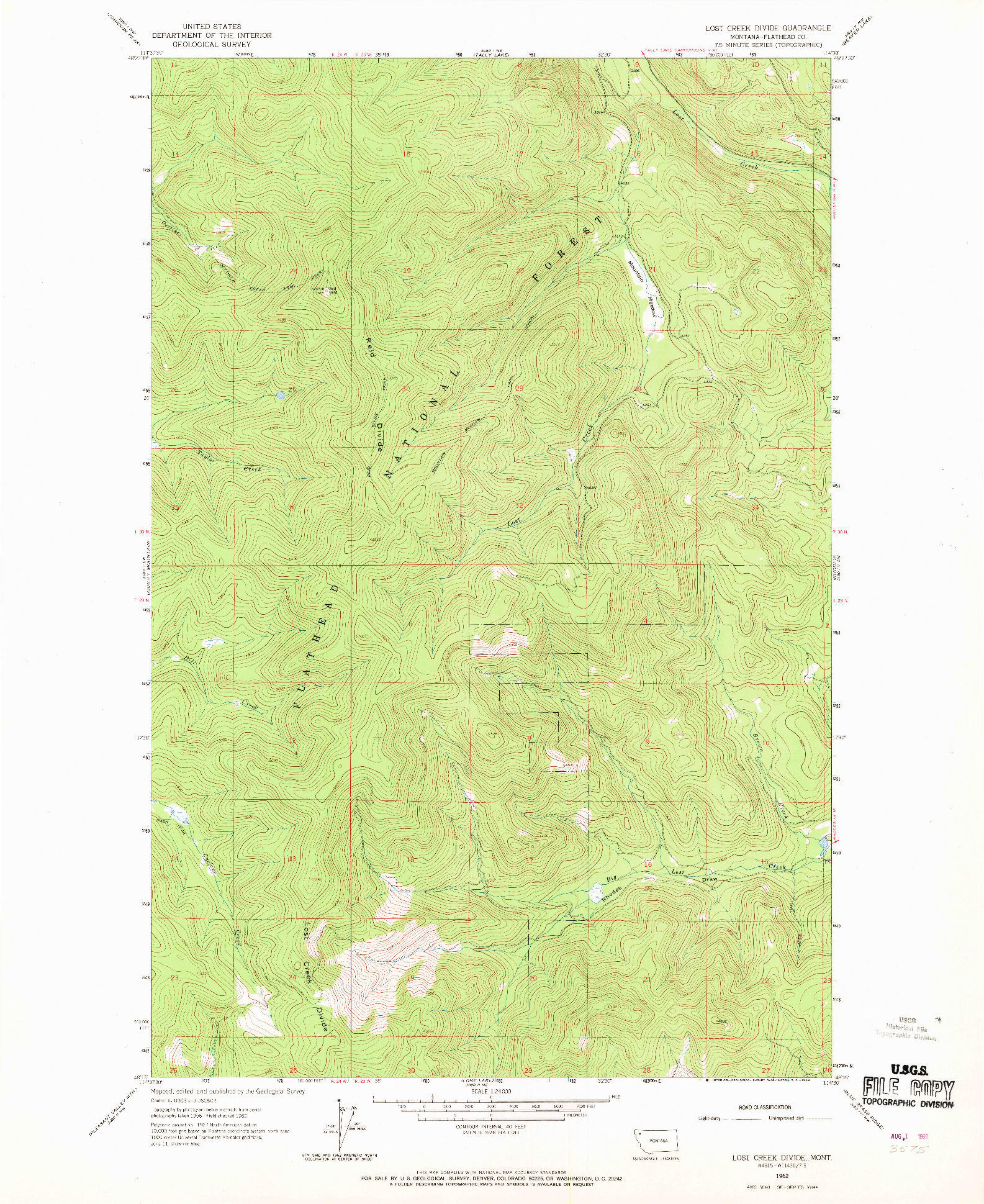 USGS 1:24000-SCALE QUADRANGLE FOR LOST CREEK DIVIDE, MT 1962