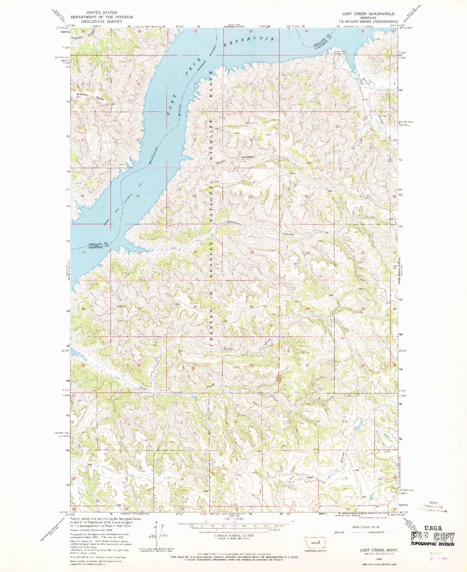 USGS 1:24000-SCALE QUADRANGLE FOR LOST CREEK, MT 1965