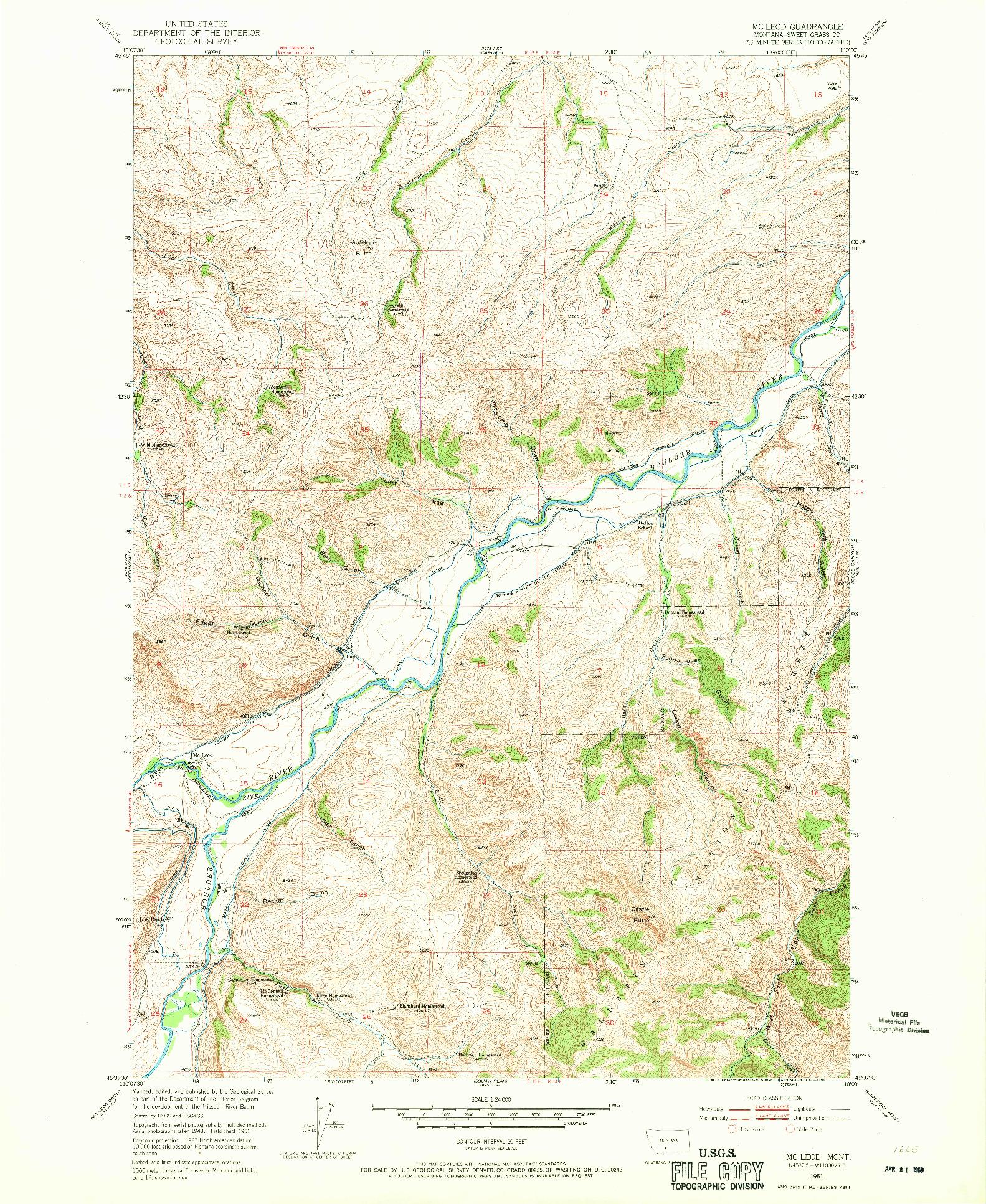 USGS 1:24000-SCALE QUADRANGLE FOR MC LEOD, MT 1951