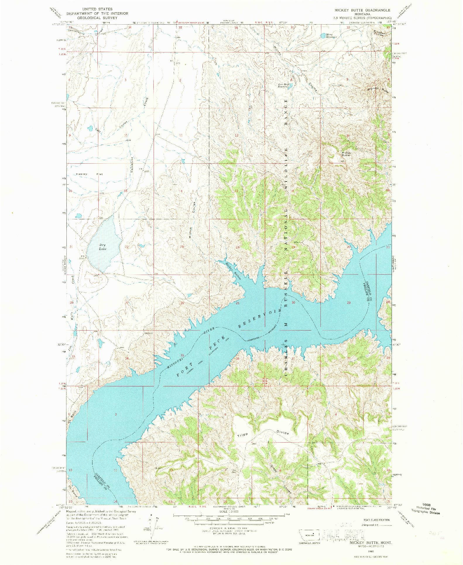 USGS 1:24000-SCALE QUADRANGLE FOR MICKEY BUTTE, MT 1965
