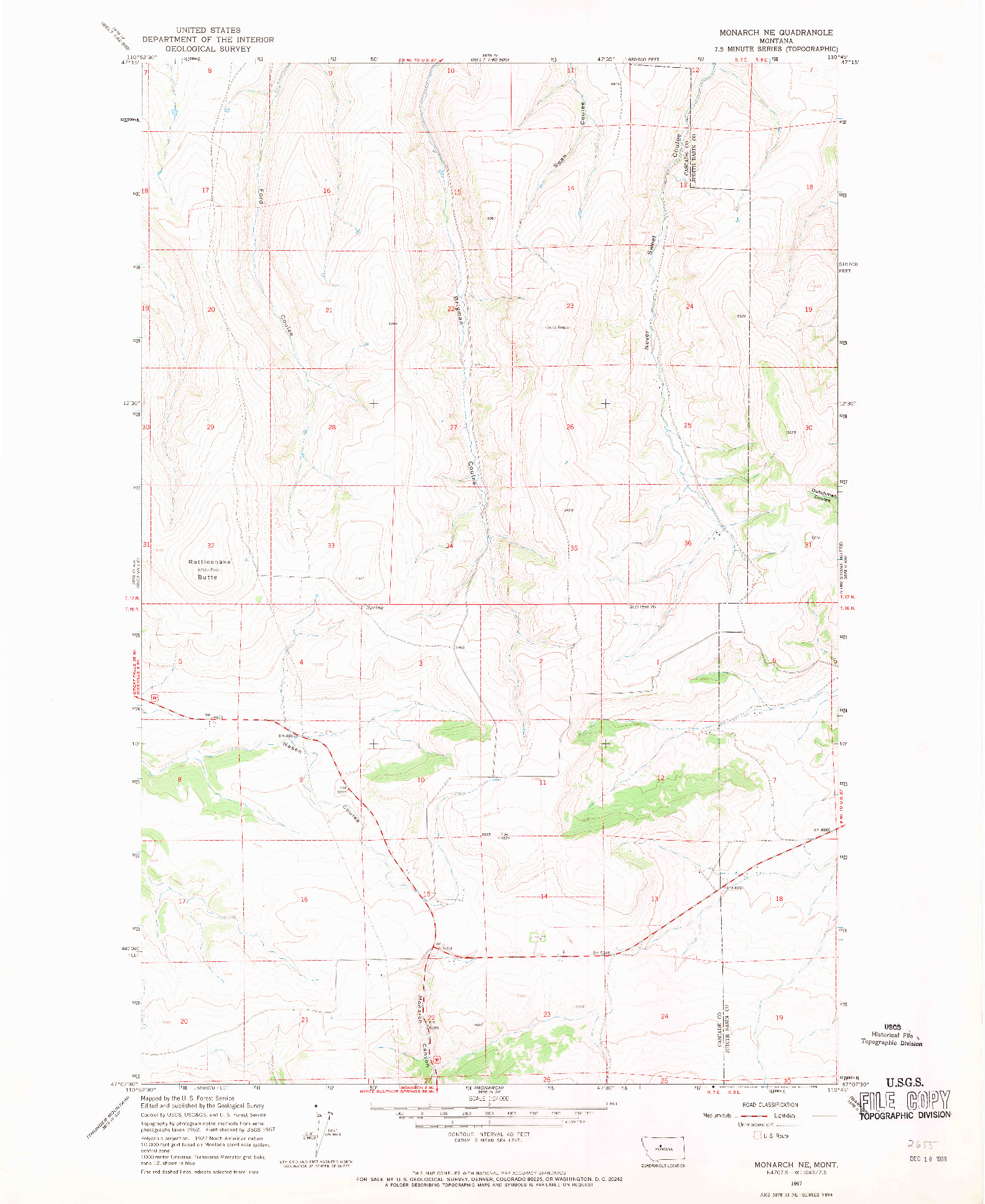 USGS 1:24000-SCALE QUADRANGLE FOR MONARCH NE, MT 1967