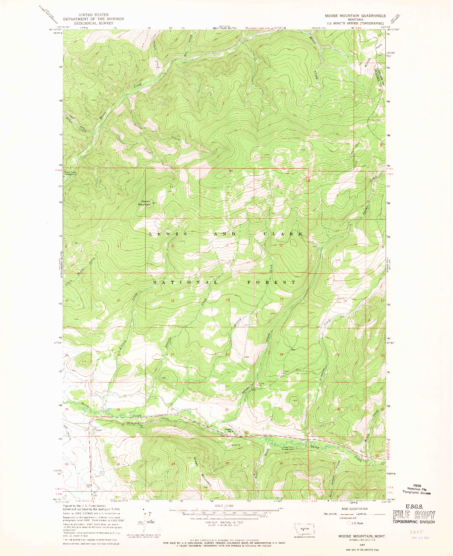 USGS 1:24000-SCALE QUADRANGLE FOR MOOSE MOUNTAIN, MT 1967