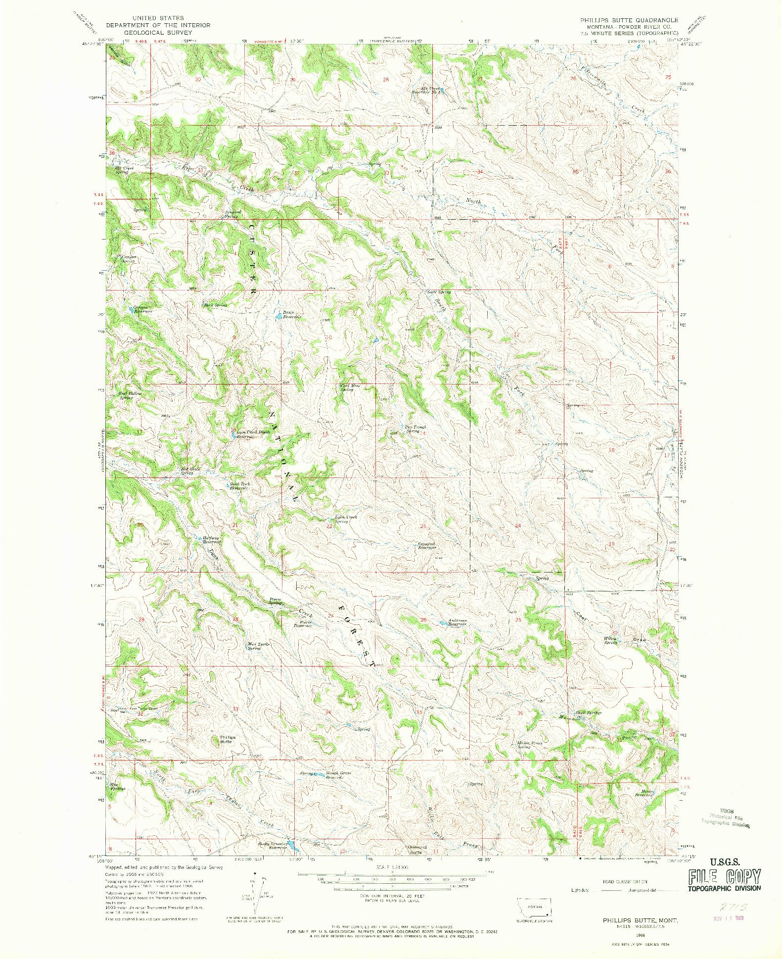USGS 1:24000-SCALE QUADRANGLE FOR PHILLIPS BUTTE, MT 1966