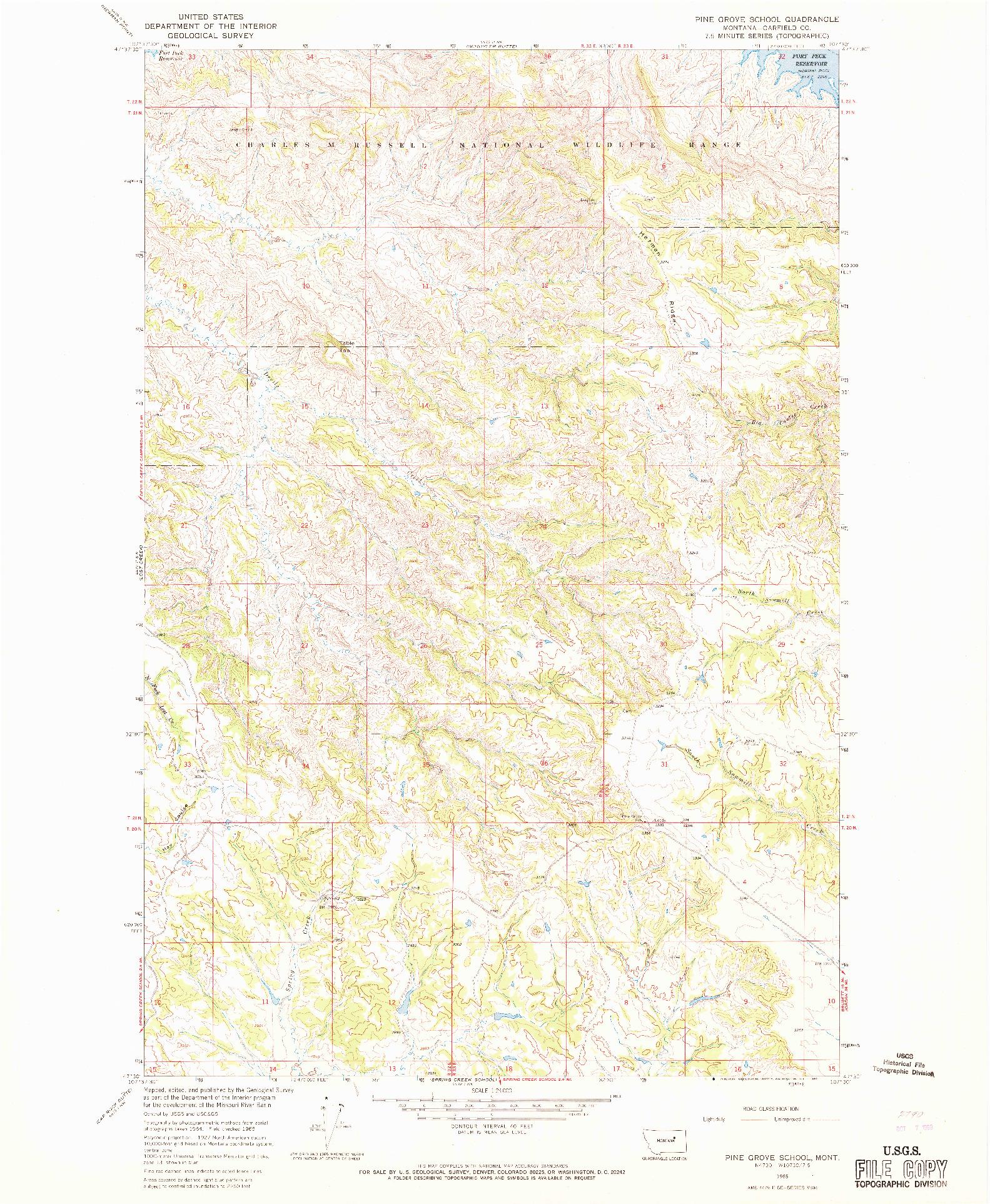 USGS 1:24000-SCALE QUADRANGLE FOR PINE GROVE SCHOOL, MT 1965