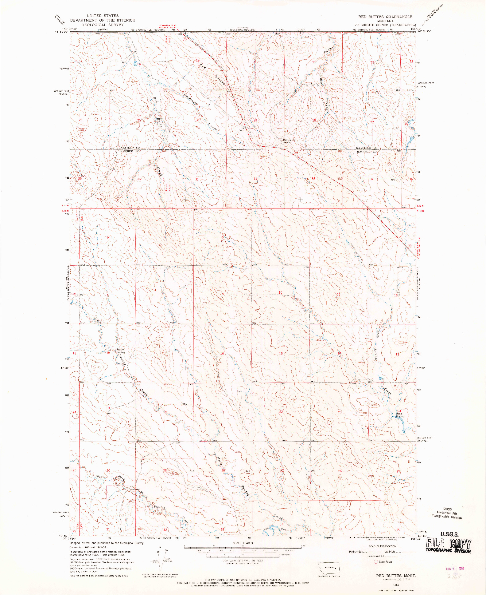 USGS 1:24000-SCALE QUADRANGLE FOR RED BUTTES, MT 1965