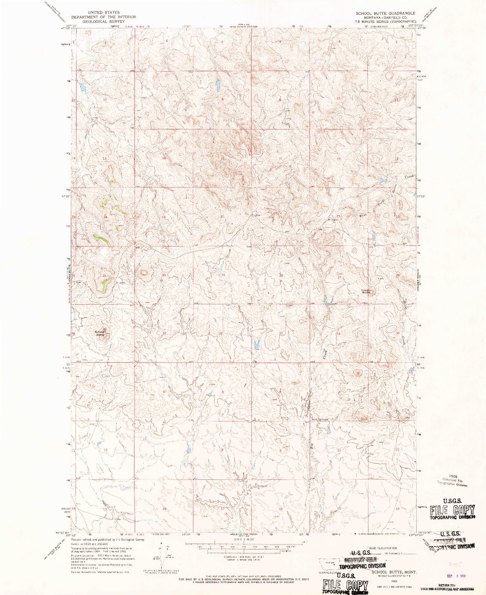 USGS 1:24000-SCALE QUADRANGLE FOR SCHOOL BUTTE, MT 1965
