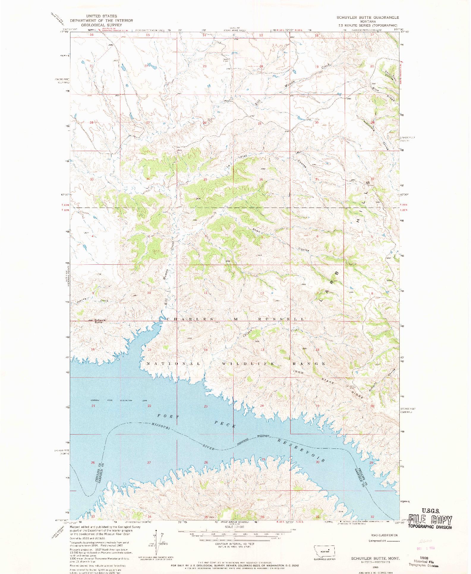 USGS 1:24000-SCALE QUADRANGLE FOR SCHUYLER BUTTE, MT 1965
