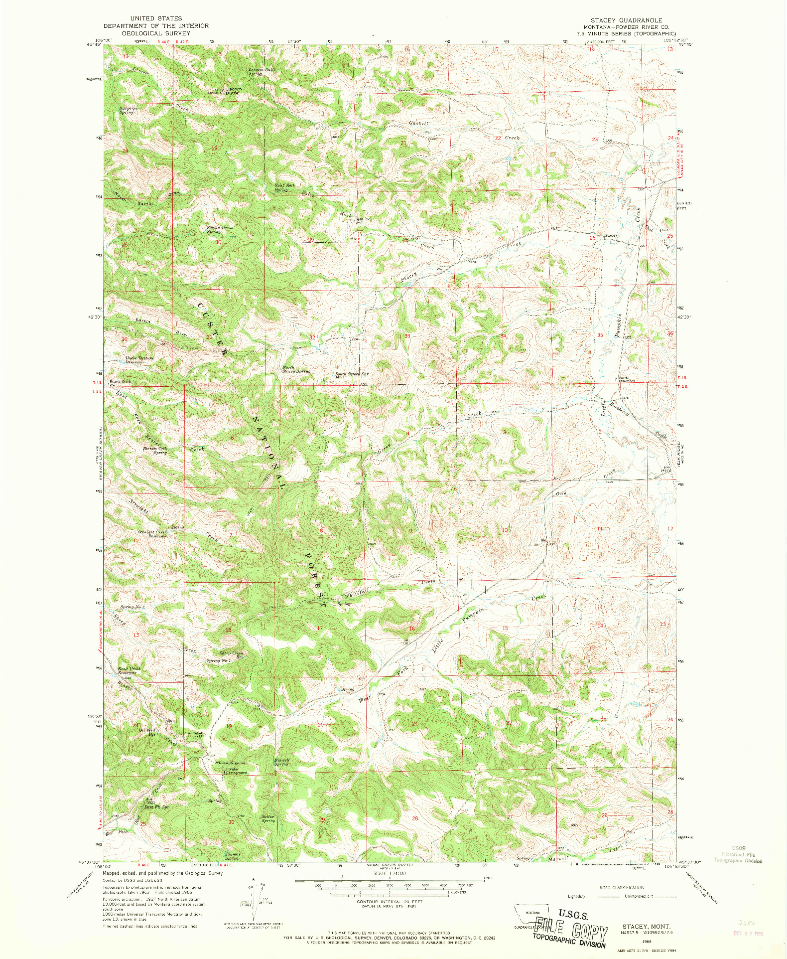USGS 1:24000-SCALE QUADRANGLE FOR STACEY, MT 1966