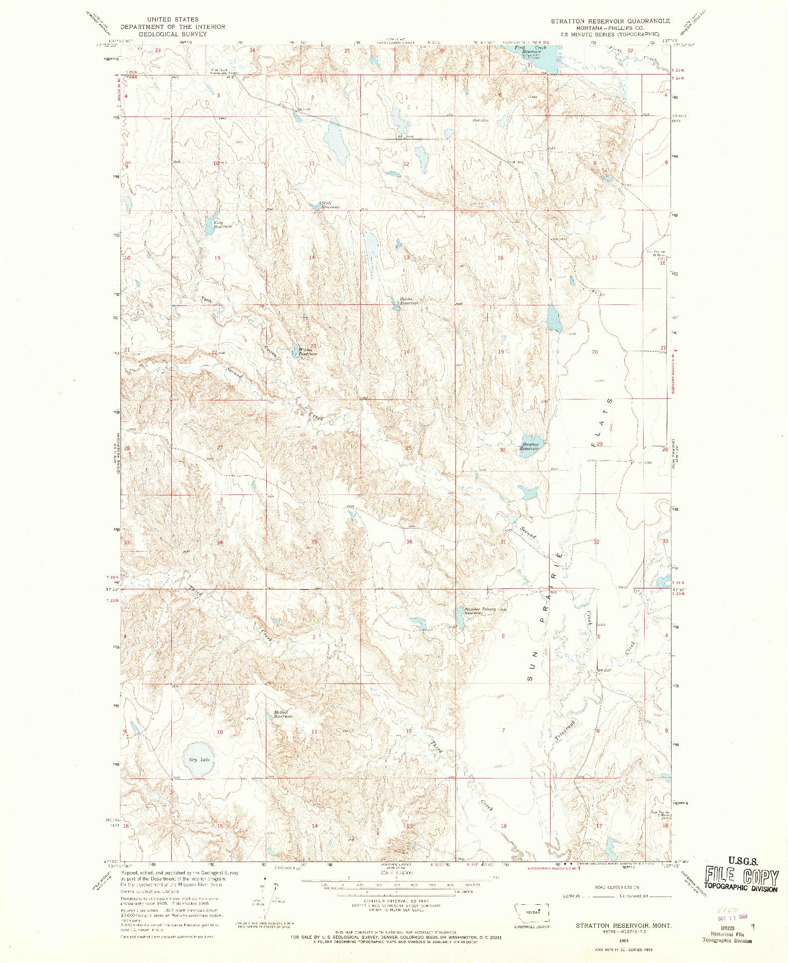 USGS 1:24000-SCALE QUADRANGLE FOR STRATTON RESERVOIR, MT 1965