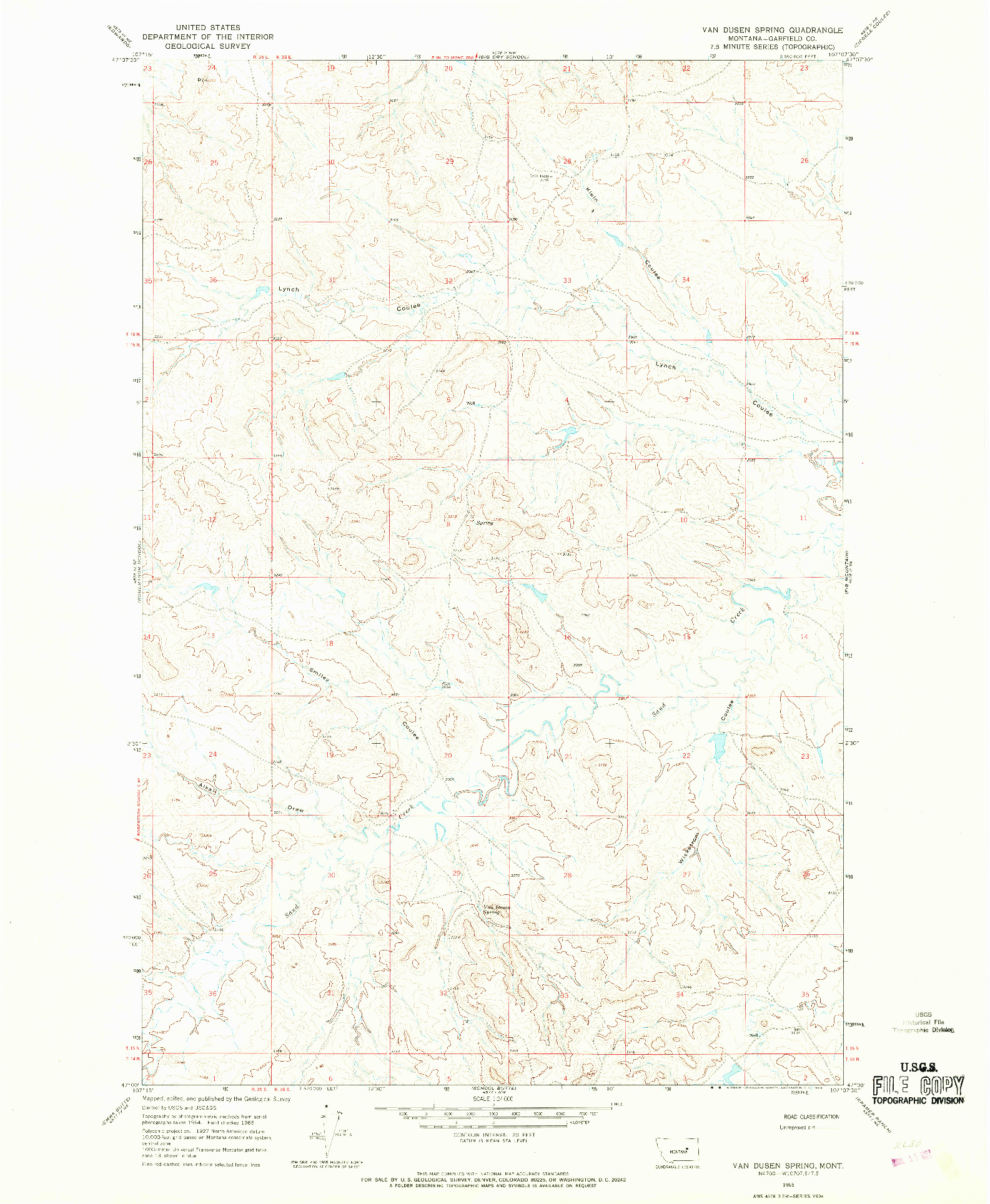USGS 1:24000-SCALE QUADRANGLE FOR VAN DUSEN SPRING, MT 1965
