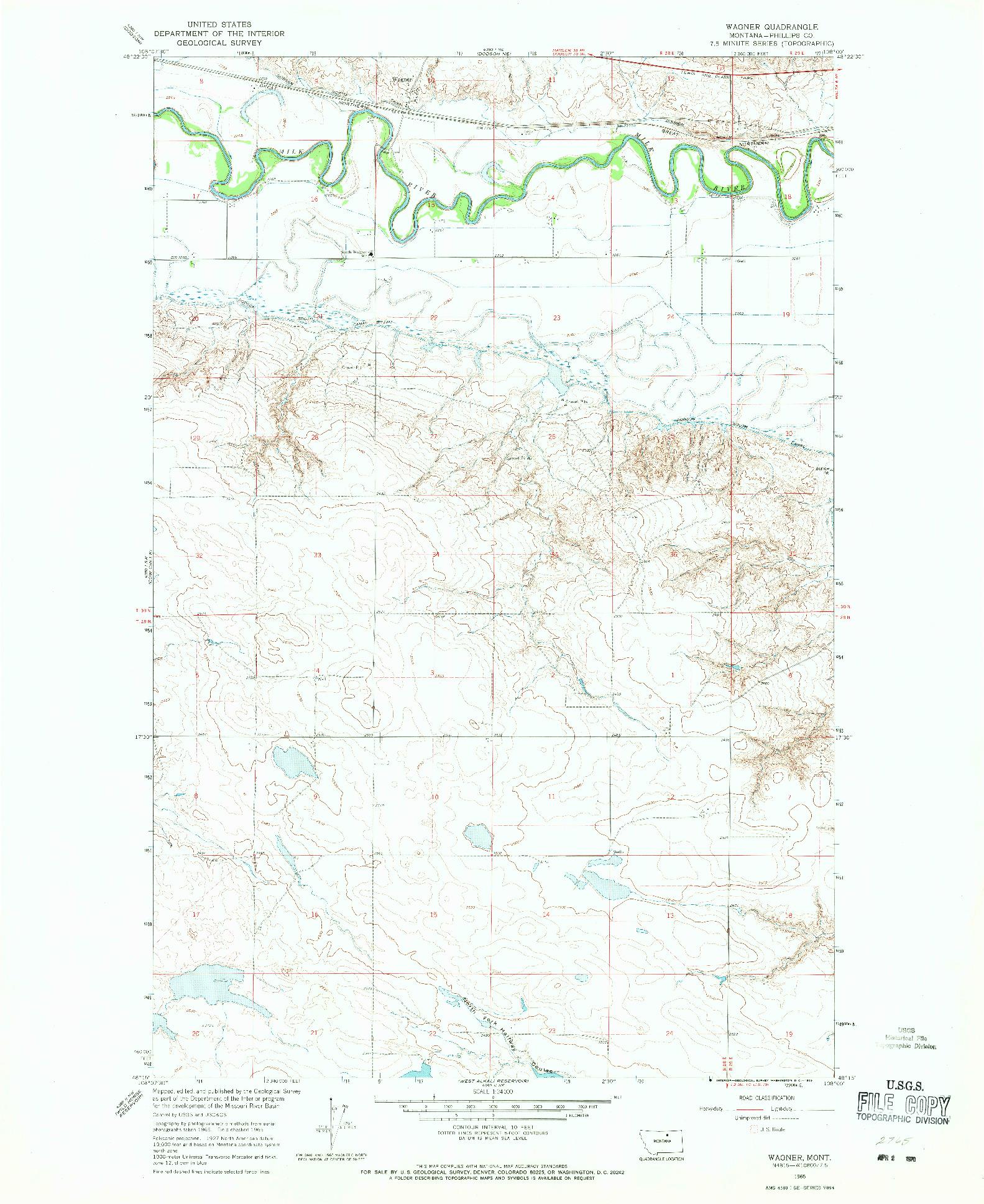 USGS 1:24000-SCALE QUADRANGLE FOR WAGNER, MT 1965