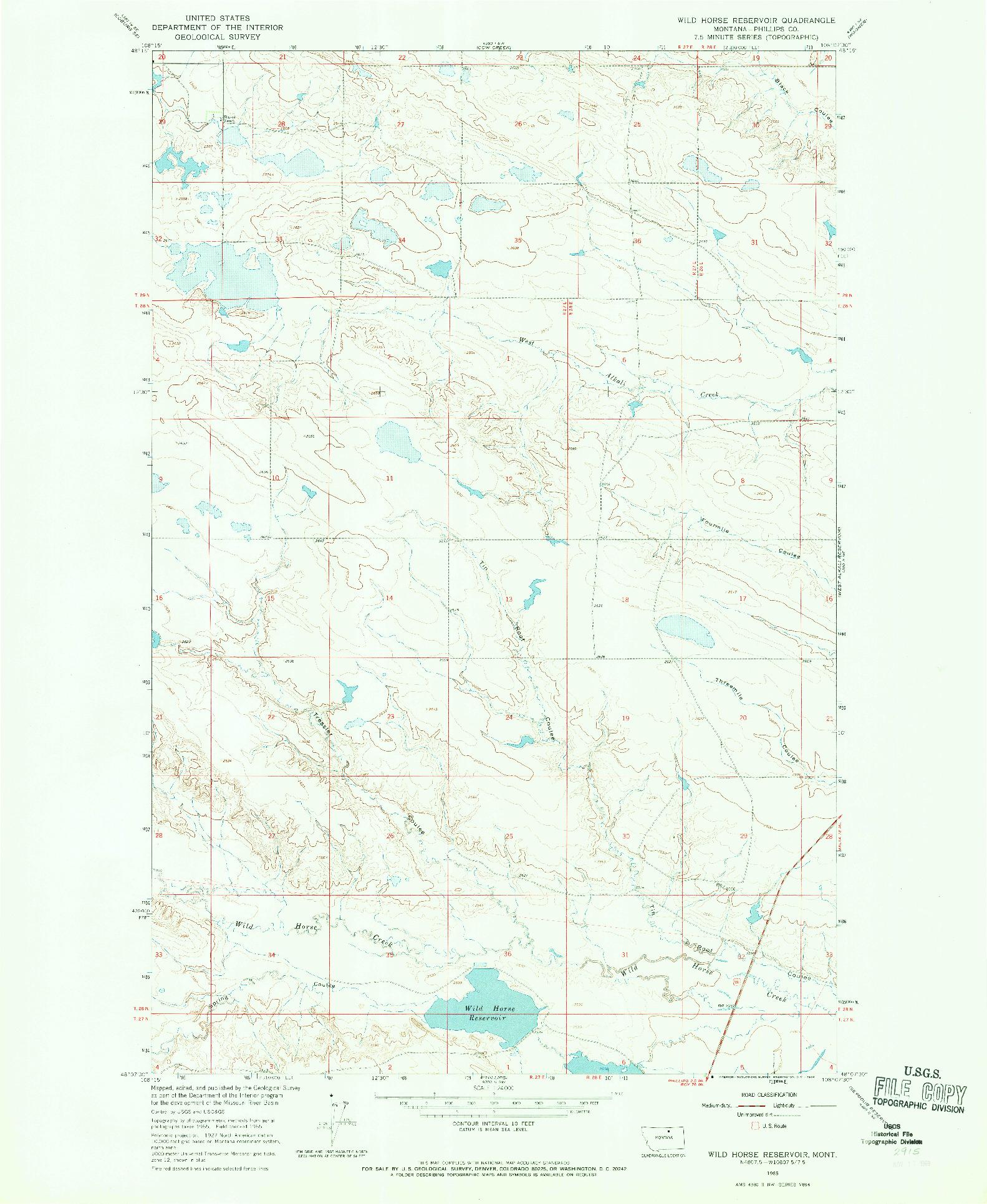 USGS 1:24000-SCALE QUADRANGLE FOR WILD HORSE RESERVOIR, MT 1965