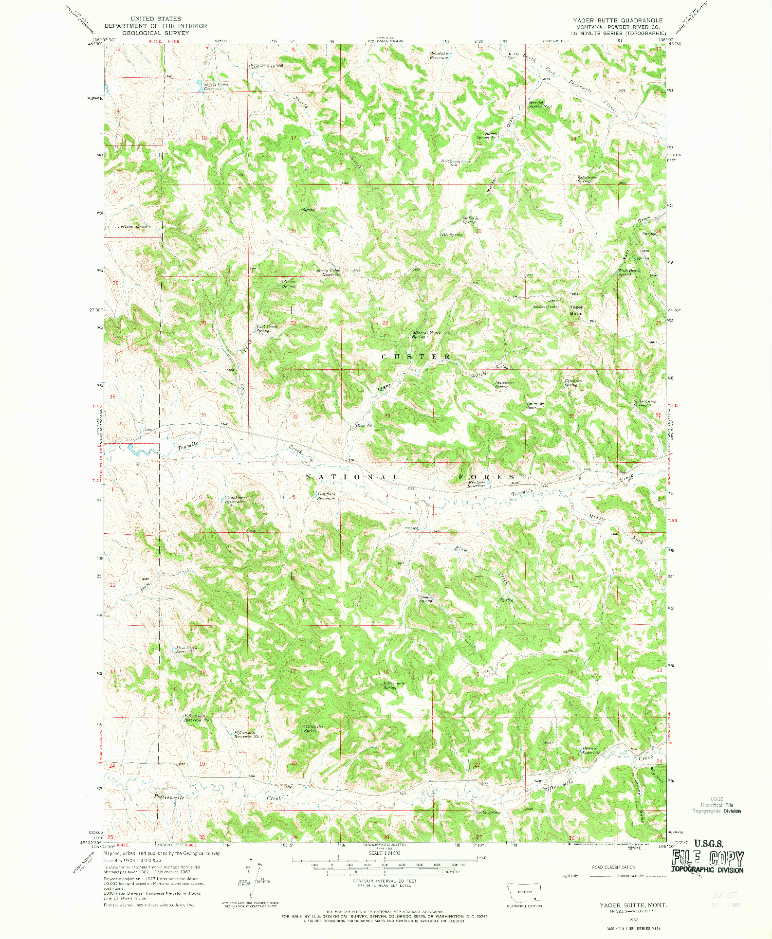 USGS 1:24000-SCALE QUADRANGLE FOR YAGER BUTTE, MT 1967