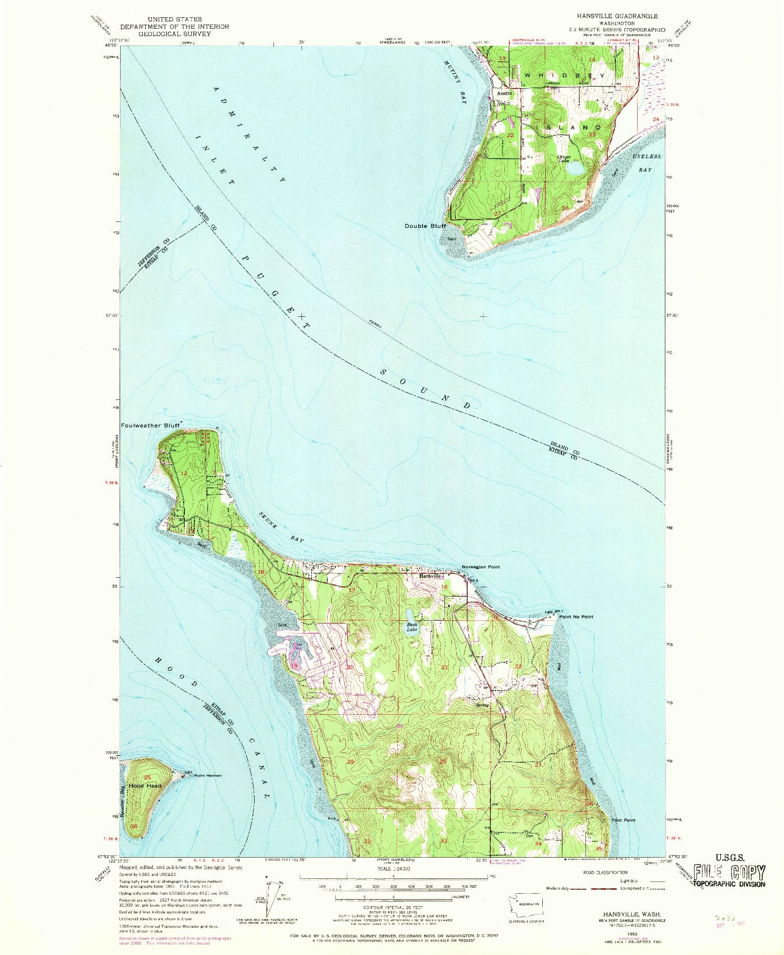 USGS 1:24000-SCALE QUADRANGLE FOR HANSVILLE, WA 1953