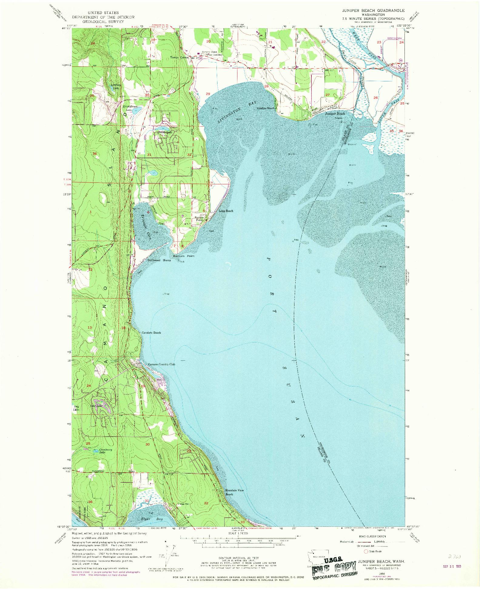 USGS 1:24000-SCALE QUADRANGLE FOR JUNIPER BEACH, WA 1956