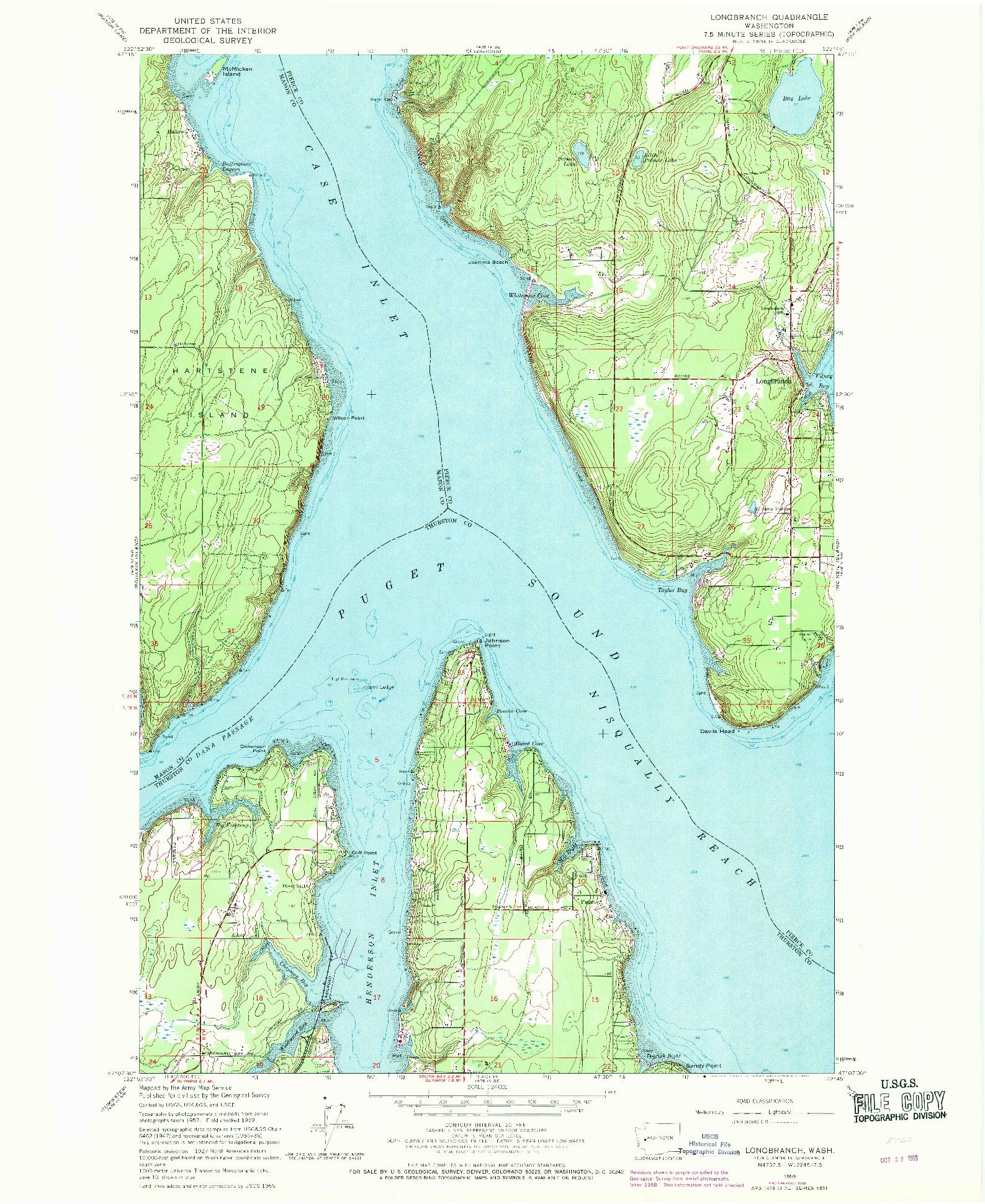 USGS 1:24000-SCALE QUADRANGLE FOR LONGBRANCH, WA 1959