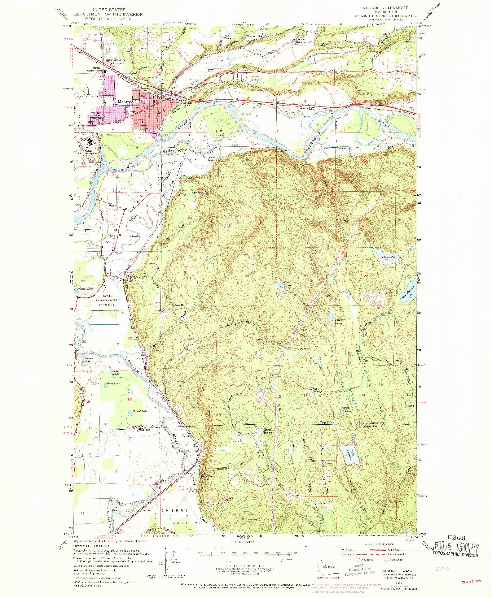 USGS 1:24000-SCALE QUADRANGLE FOR MONROE, WA 1953