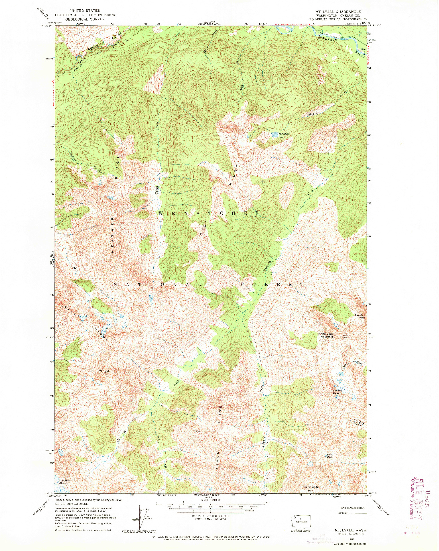 USGS 1:24000-SCALE QUADRANGLE FOR MT LYALL, WA 1963