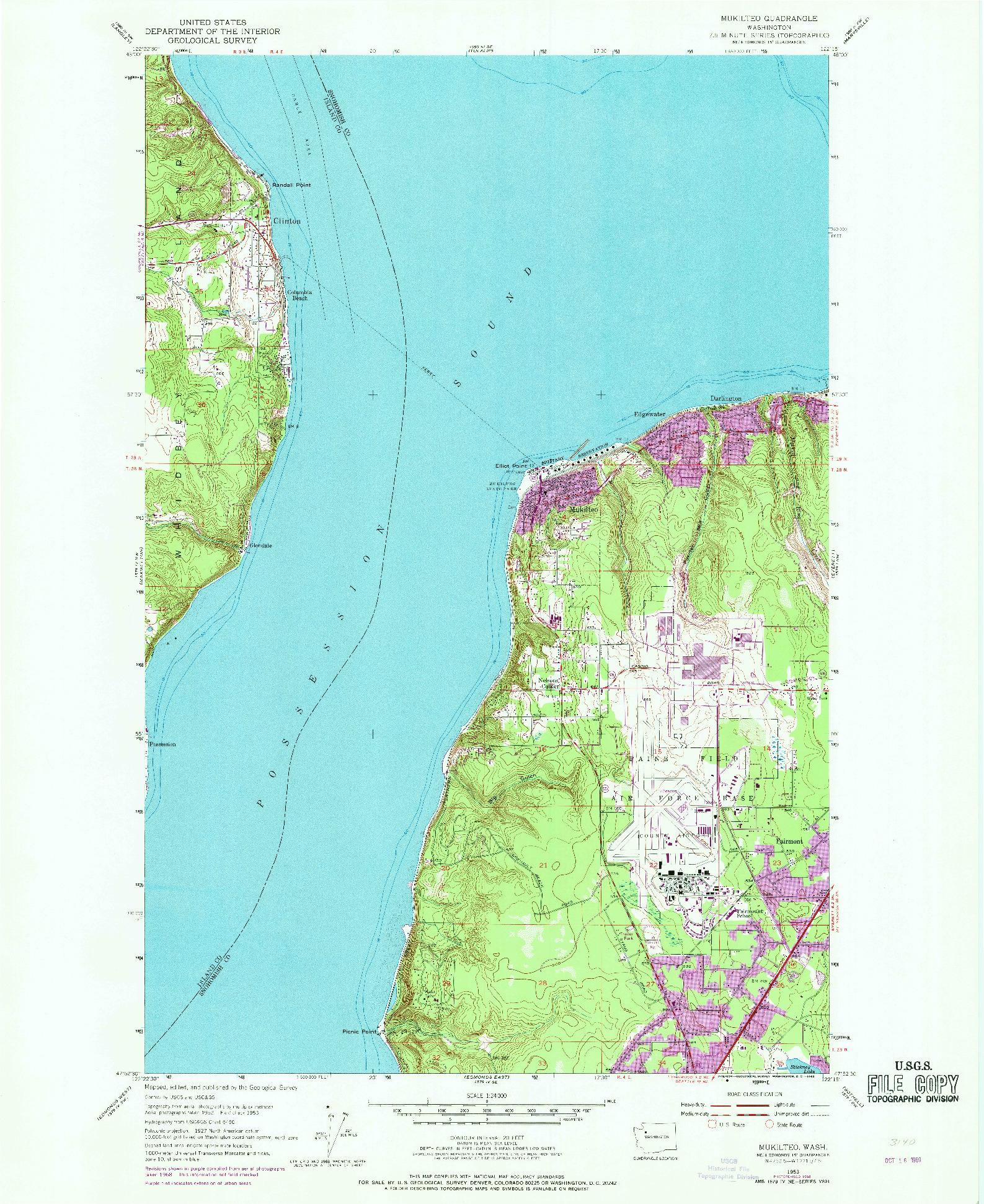 USGS 1:24000-SCALE QUADRANGLE FOR MUKILTEO, WA 1953