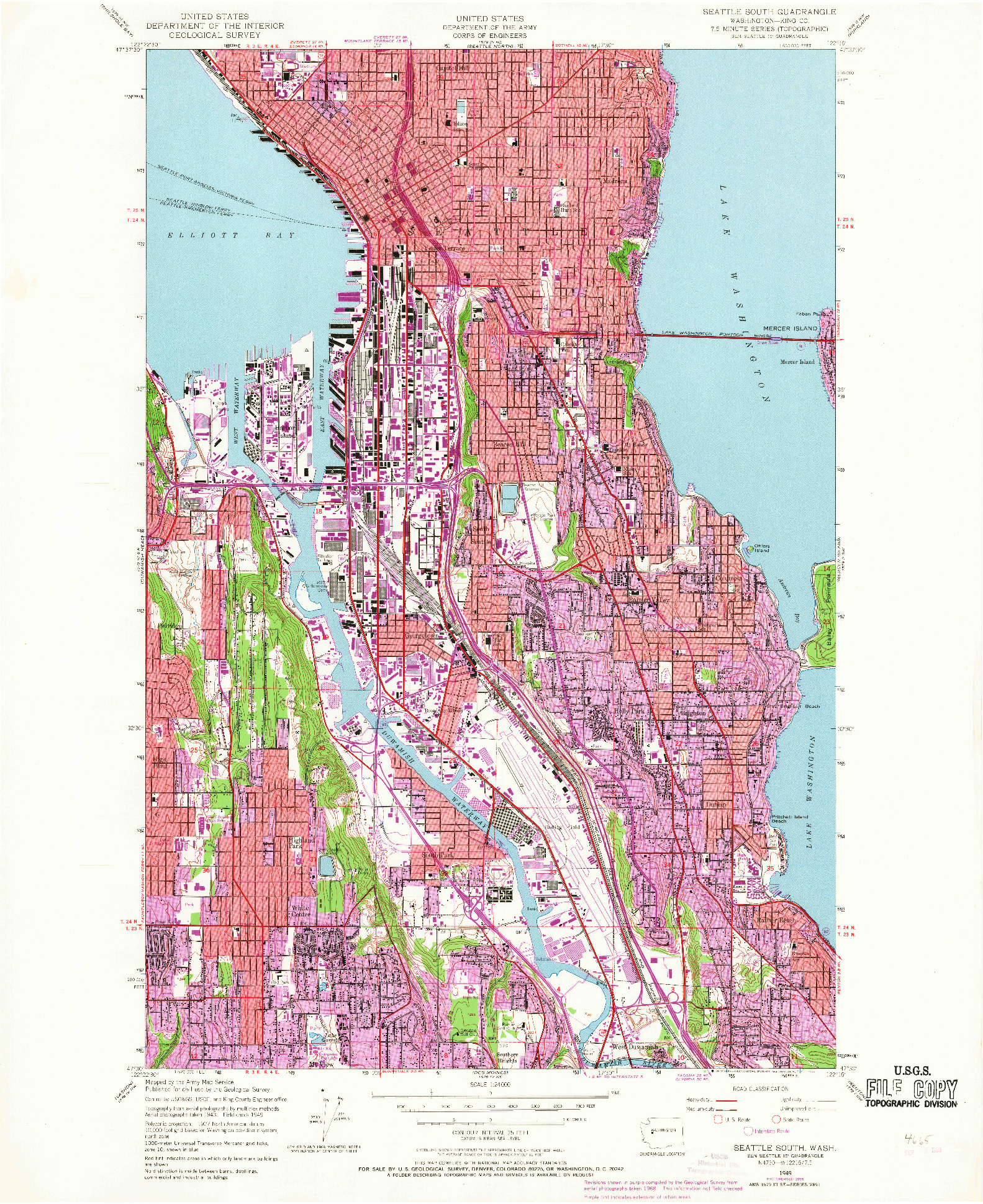 USGS 1:24000-SCALE QUADRANGLE FOR SEATTLE SOUTH, WA 1949