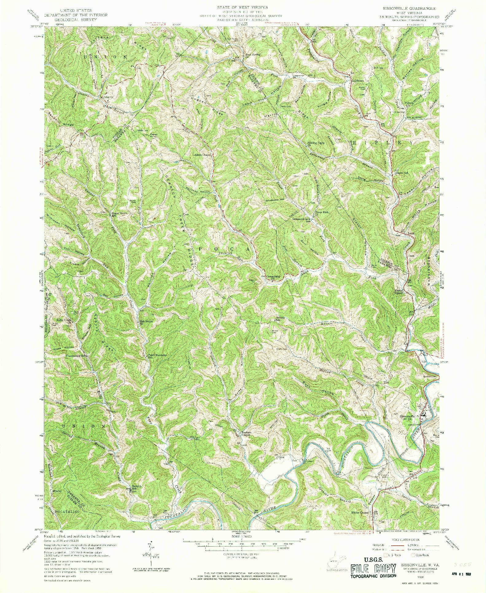 USGS 1:24000-SCALE QUADRANGLE FOR SISSONVILLE, WV 1958