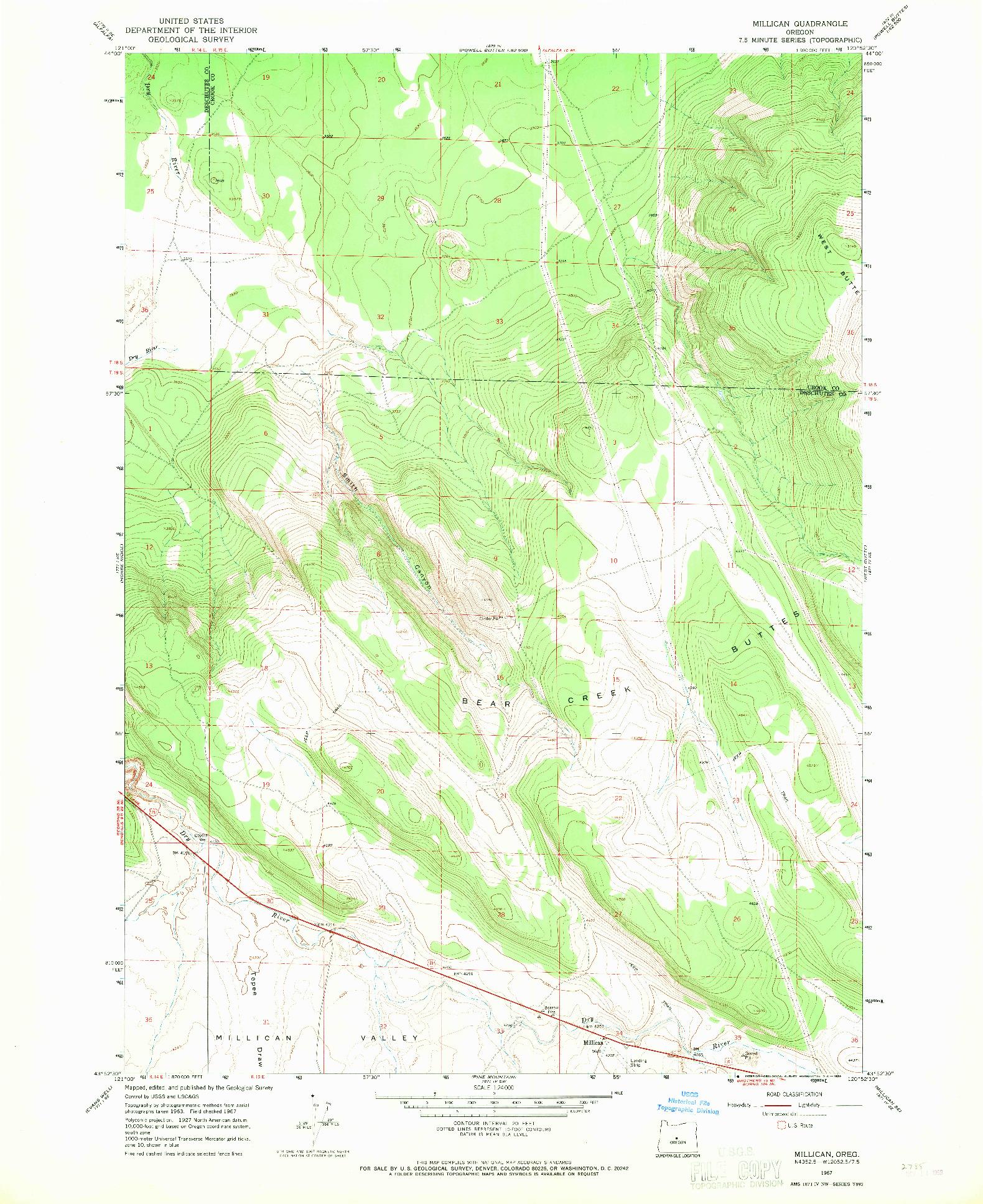 USGS 1:24000-SCALE QUADRANGLE FOR MILLICAN, OR 1967